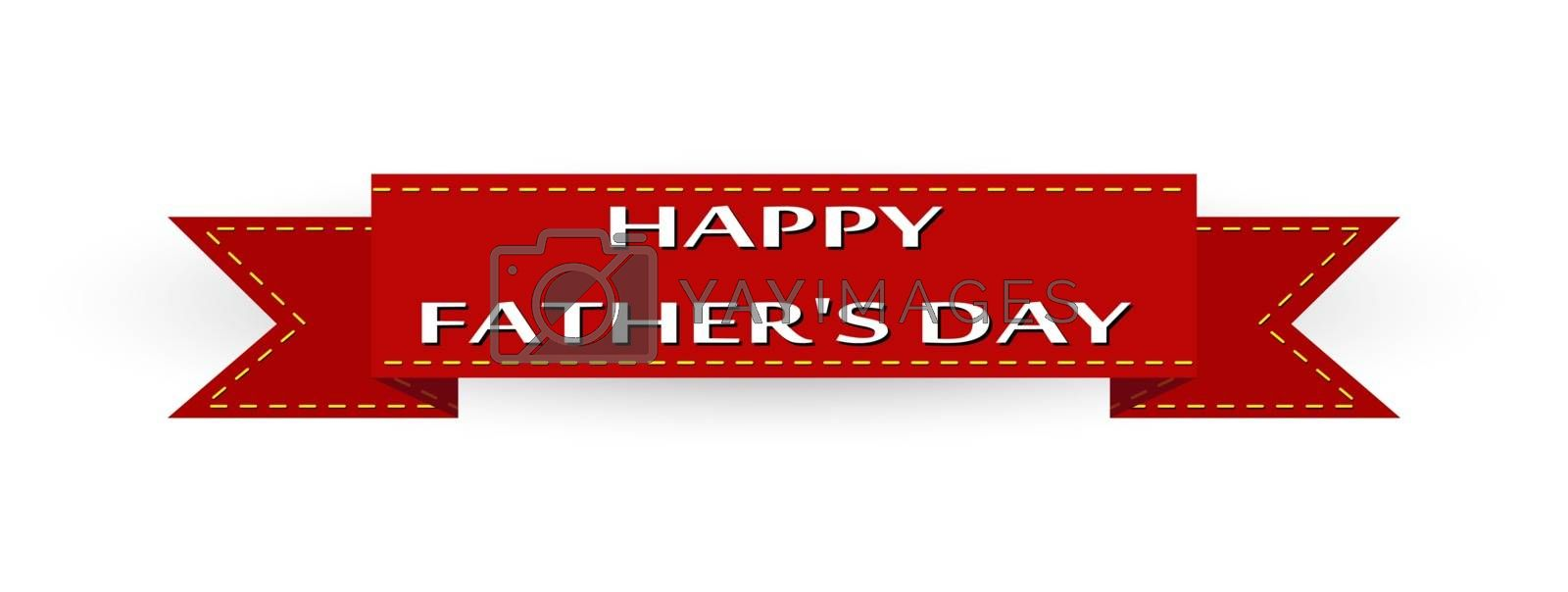 Congratulations, red ribbon with the words Happy Father's Day