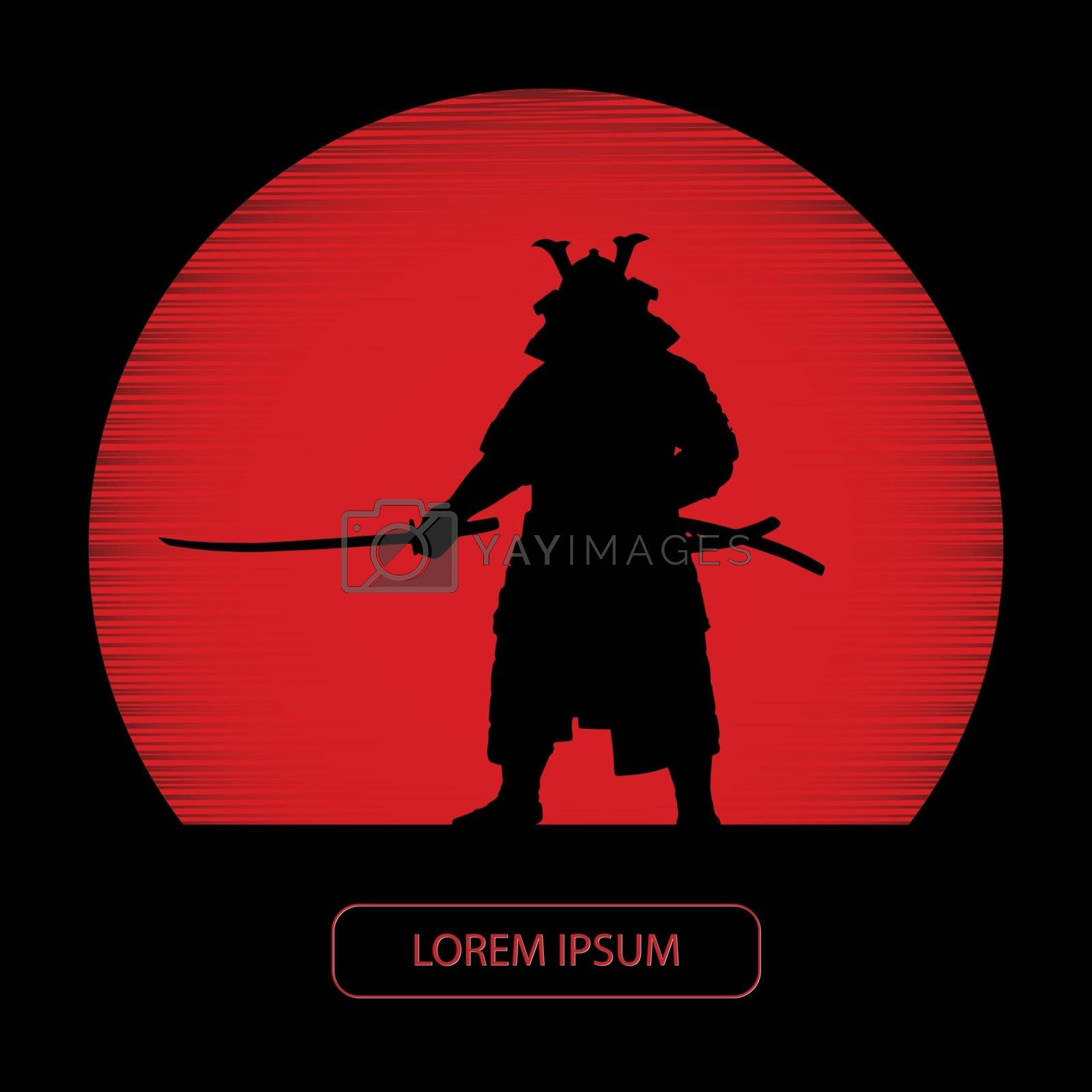 Samurai with a sword on the background of a red disk
