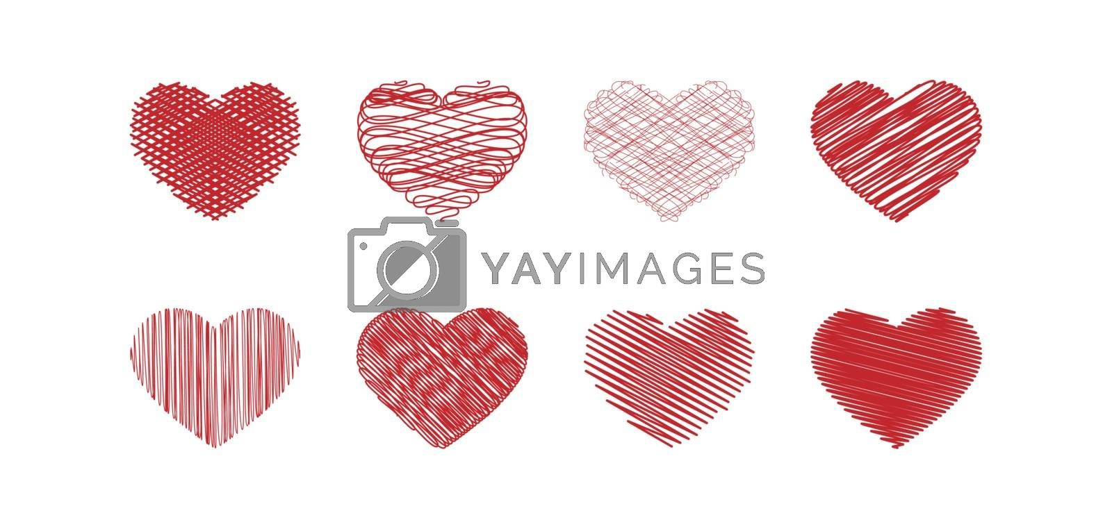 Set of hearts with abstract silhouette painting for decoration and design.