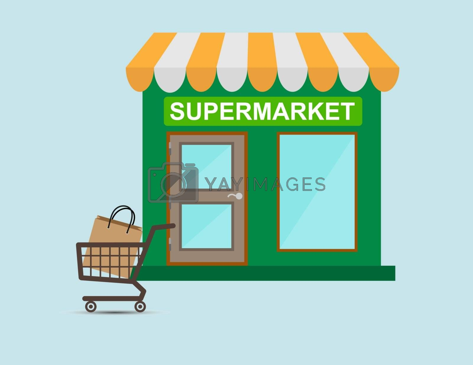 shop with an inscription supermarket and trolley with the package, e-commerce