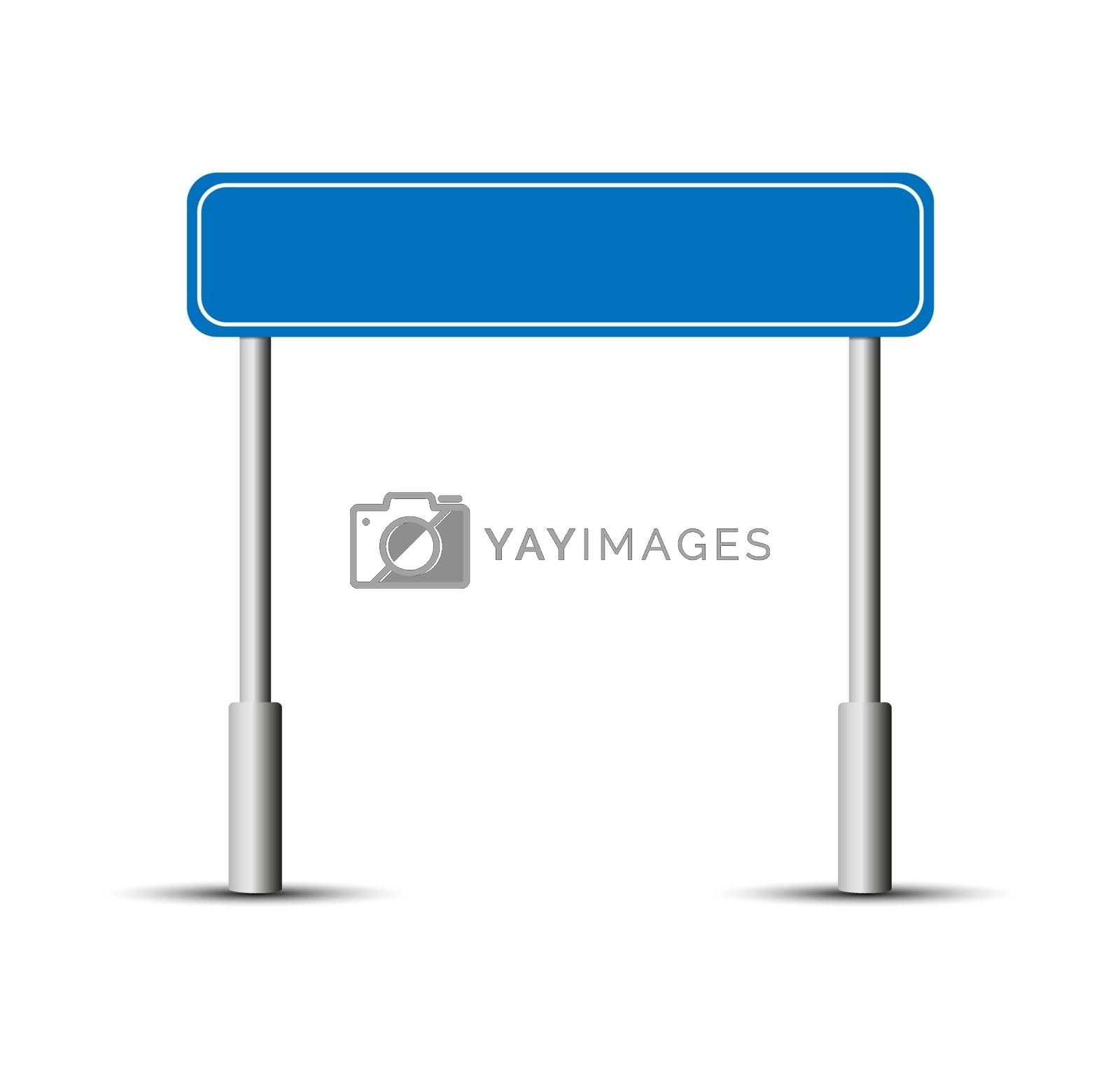 Blue road sign plate on two pillars for design
