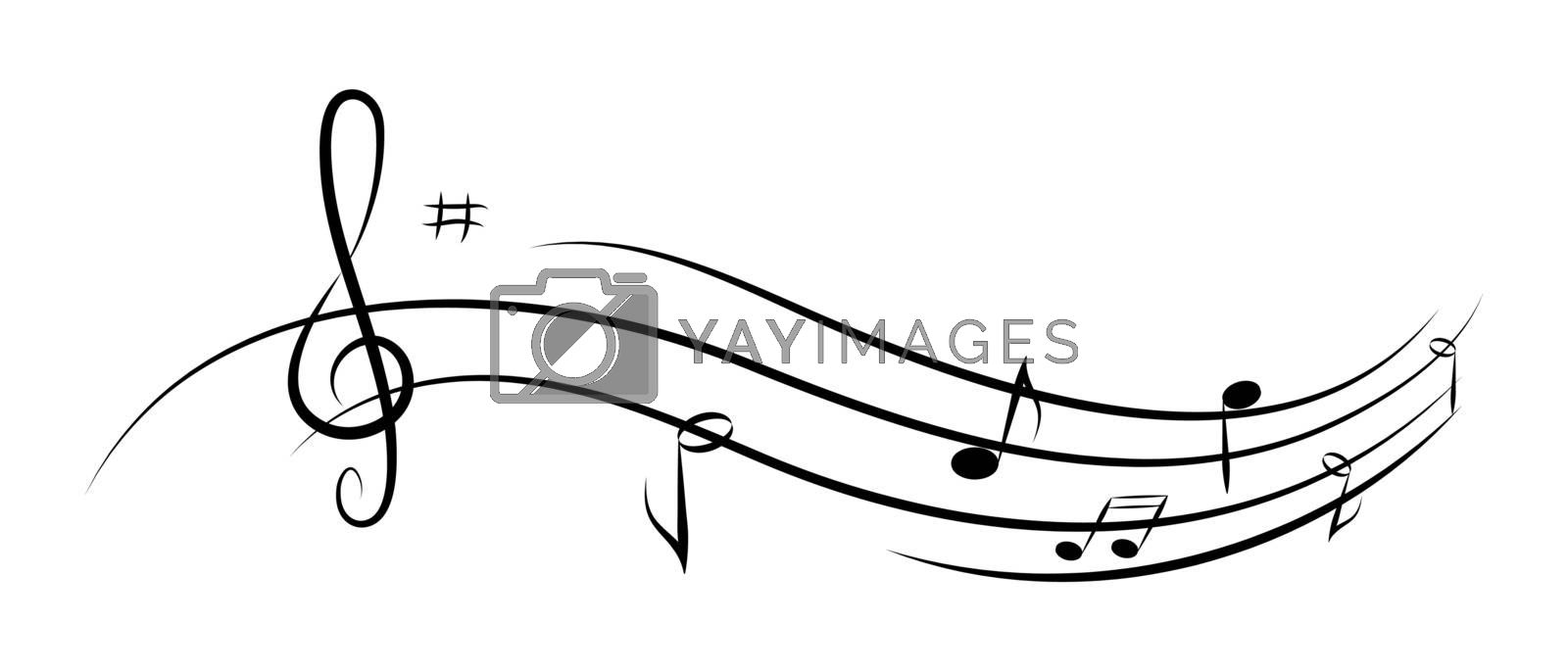 Abstract music background for design, notes and violin key
