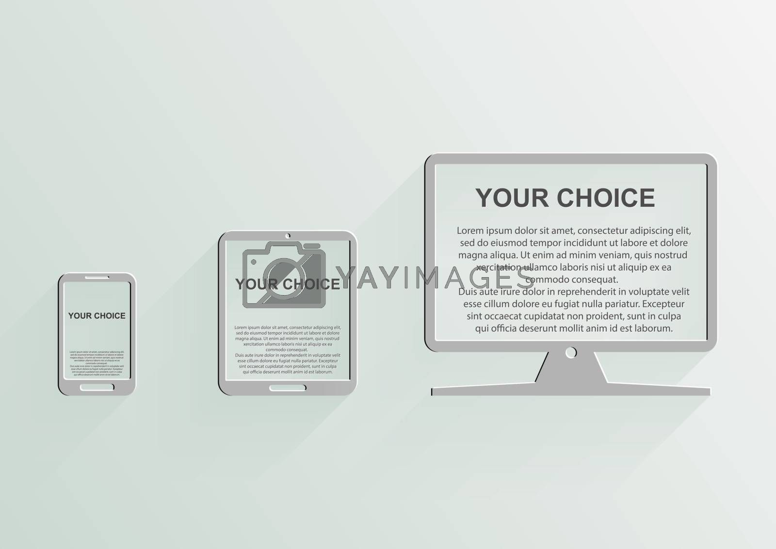 Conceptual drawing of a smartphone, tablet and monitor