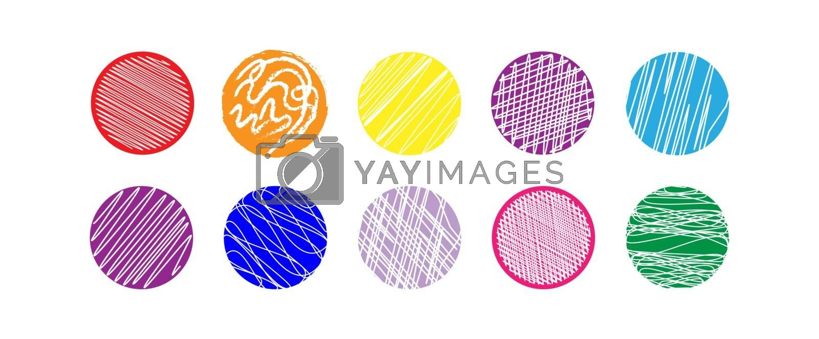 Set of multicolored circles with abstract pattern for decoration and design.