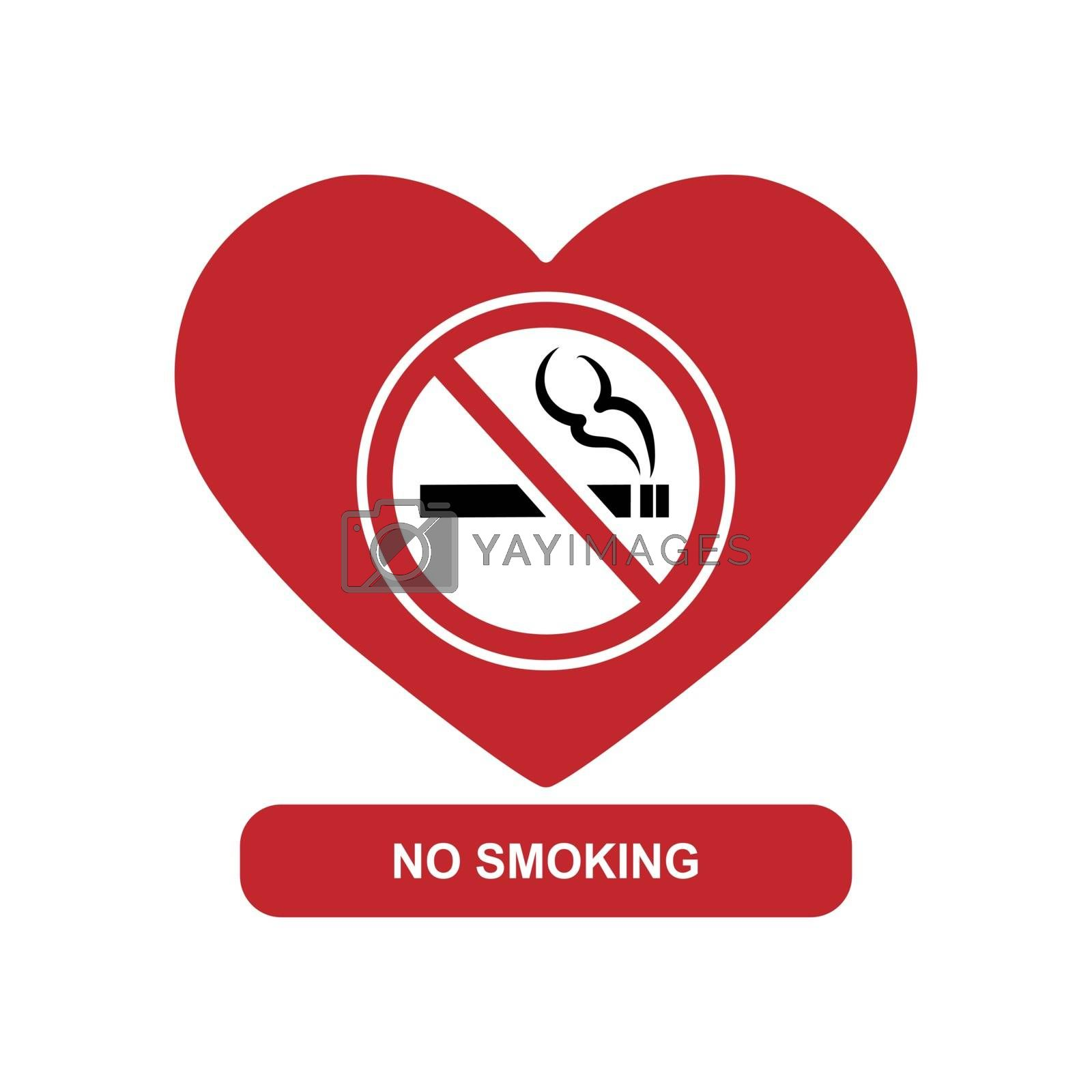 Silhouette of the heart and a sign with a crossed out hamburger, the inscription no Smoking