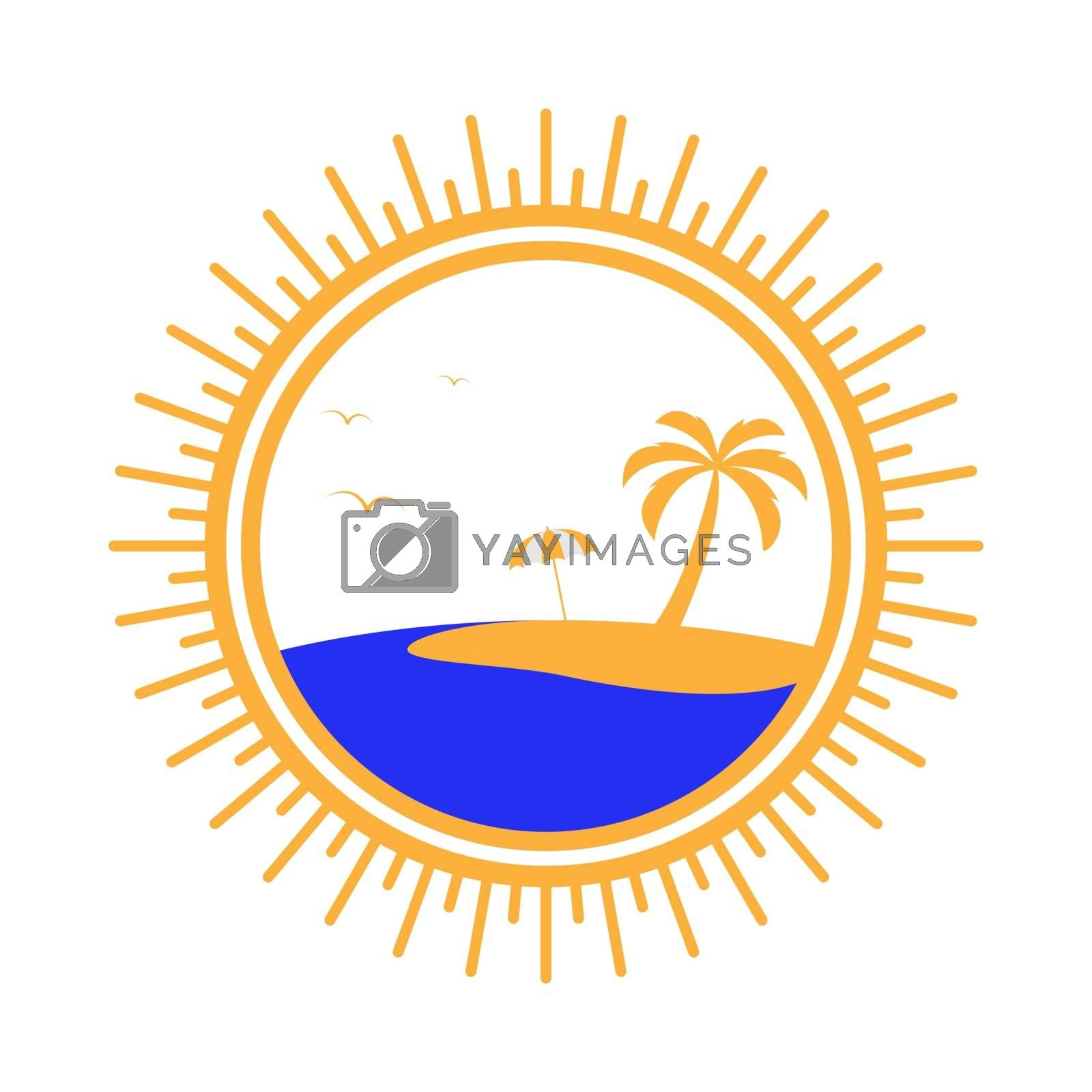 Simple logo with a palm tree, an umbrella and the sea
