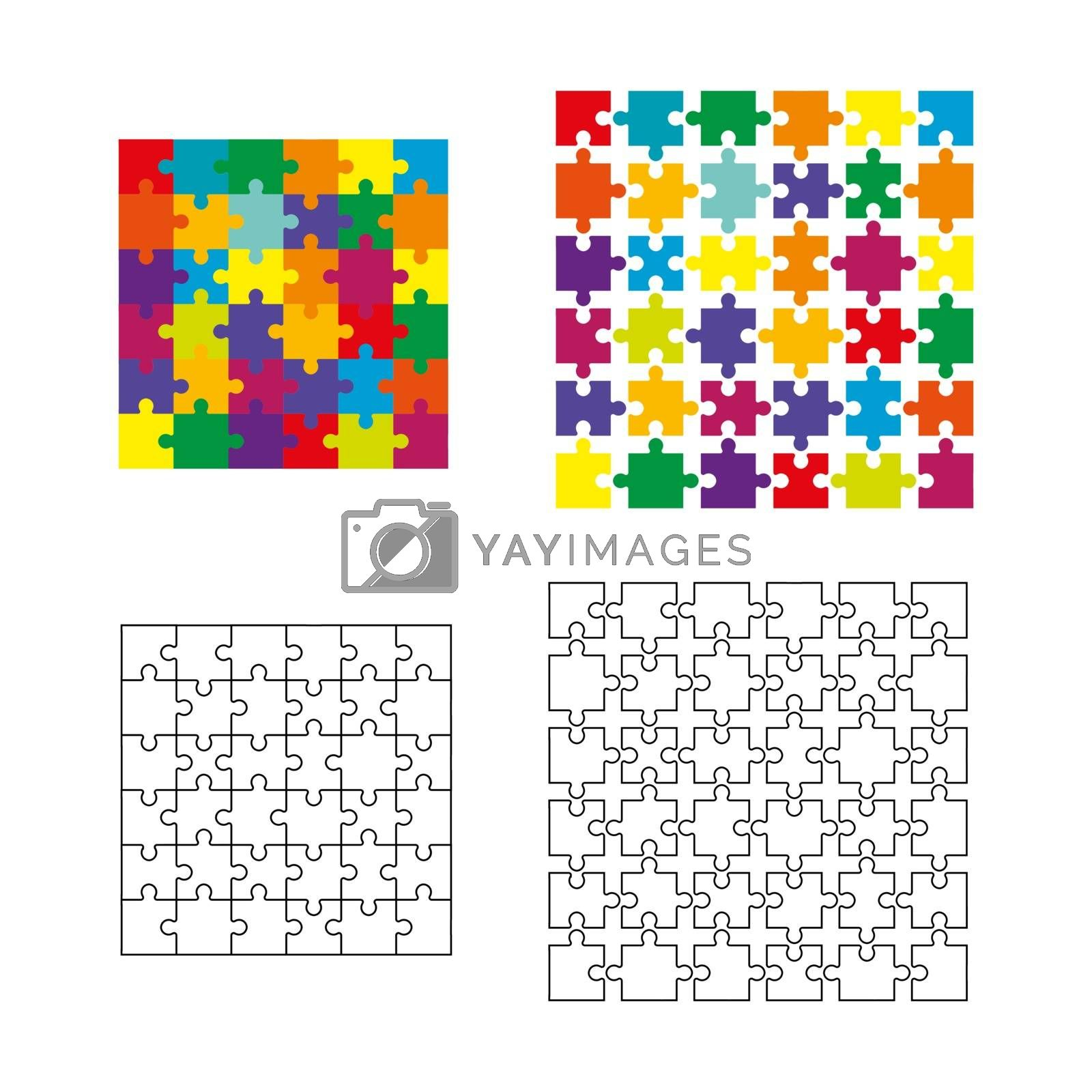 set of different possible elements of the mosaic for making panels, puzzles