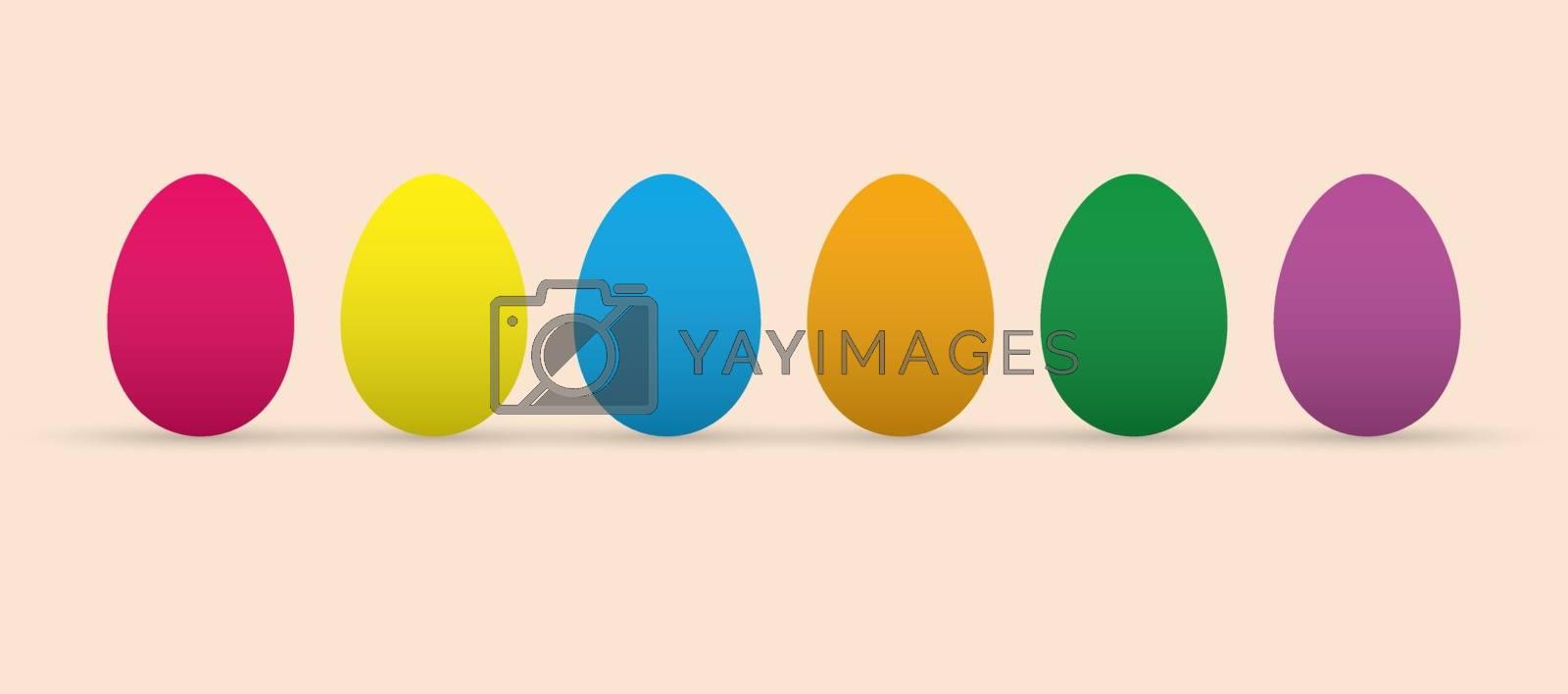 Set of colorful Easter eggs, flat design