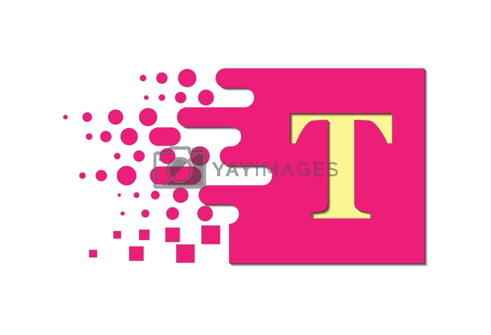 letter T on a colored square with destroyed blocks on a white background.