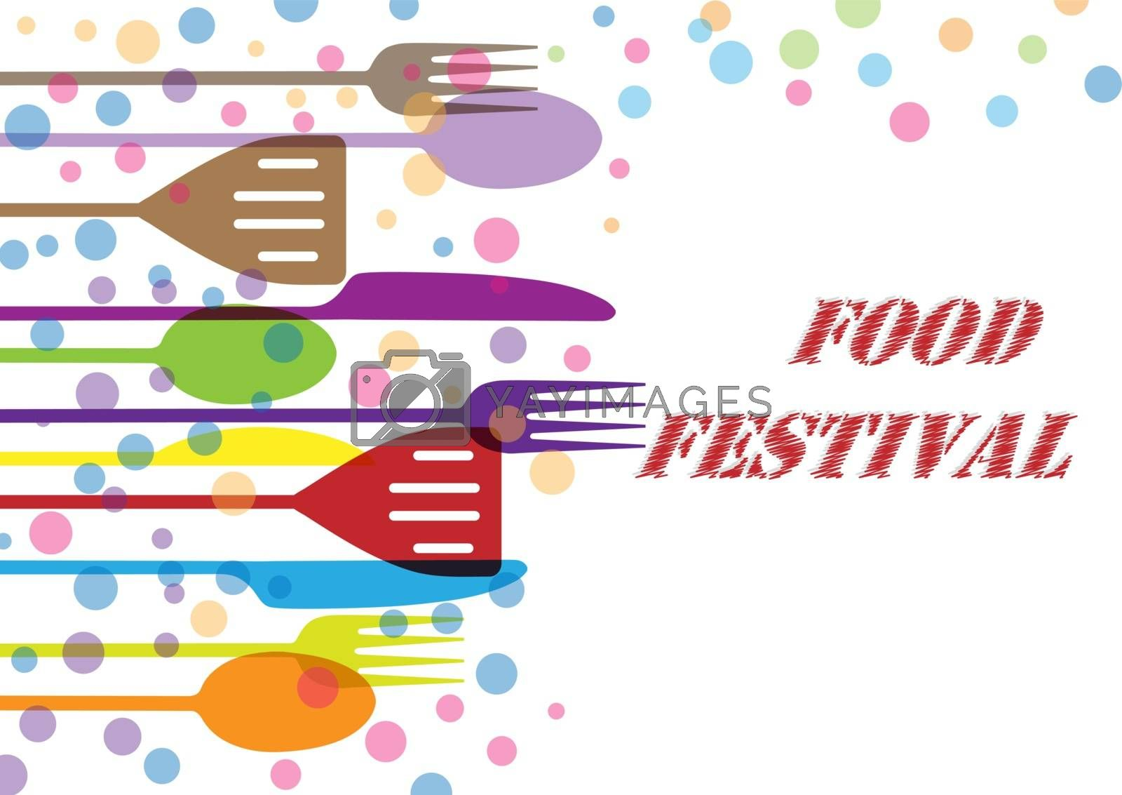 Festival of food, Cutlery and colored bubbles