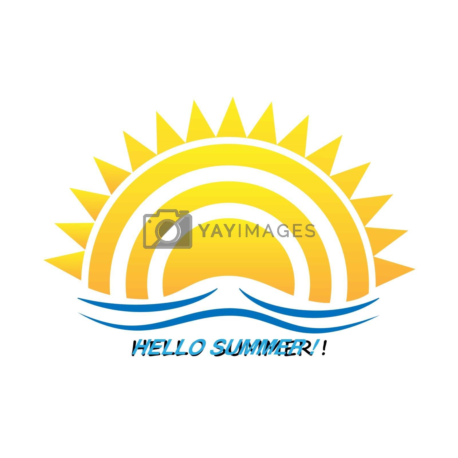Sun logo in flat design and inscription Hello summer