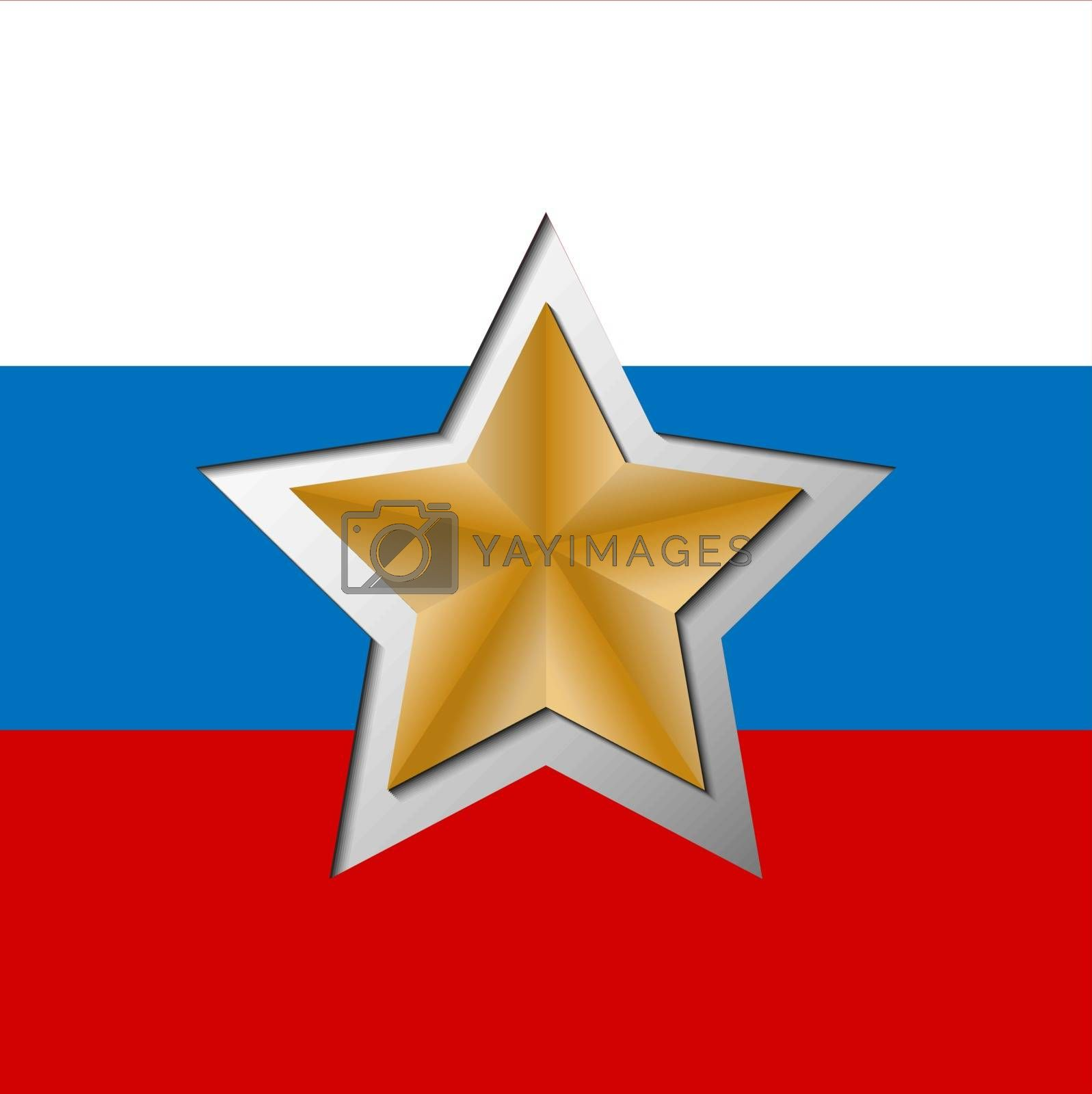 Red five-pointed star carved on the background in the colors of the Russian flag