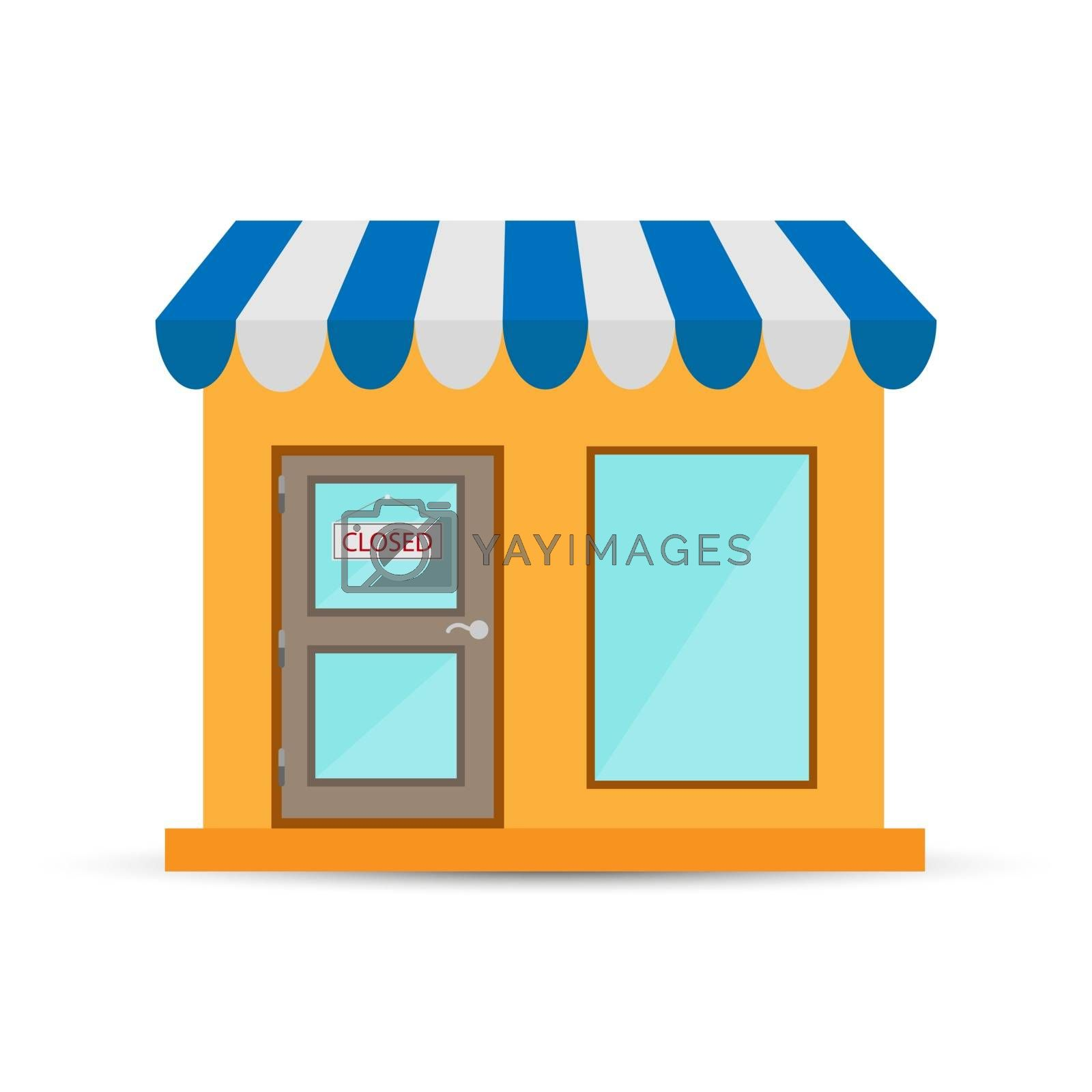 A sign is hanging on the store door, e-commerce