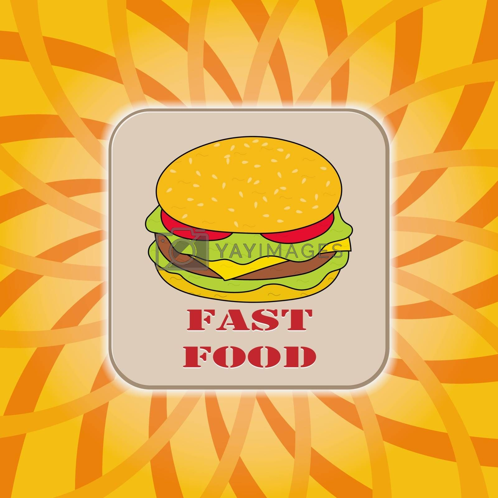 Fast food, hamburger on colorful background, for design and decoration