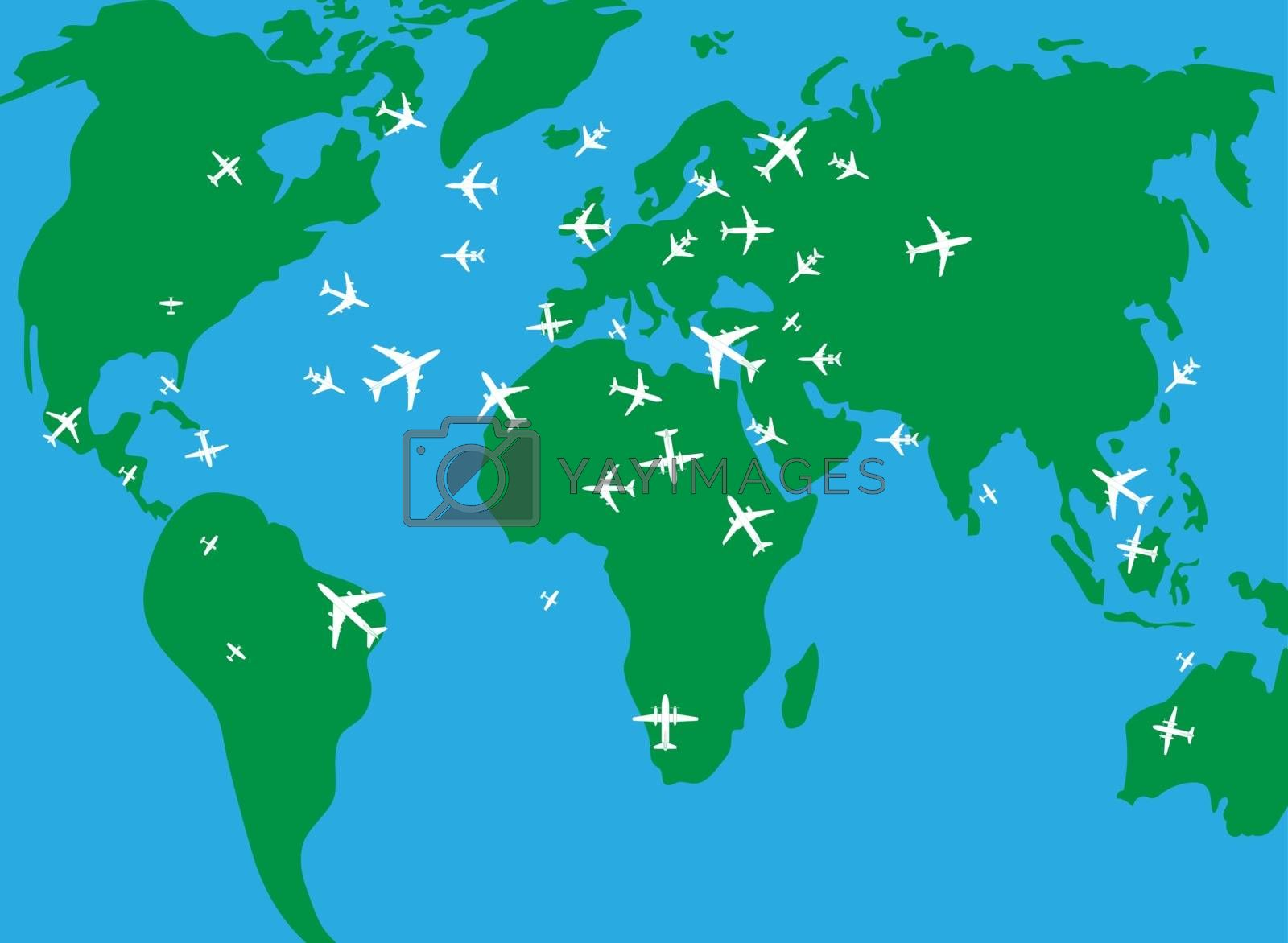 flight of the aircraft over a map of the earth flat style