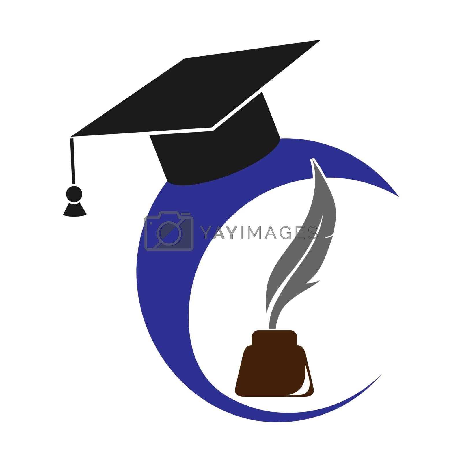 Logo with graduate cap, inkwell and pen, flat design