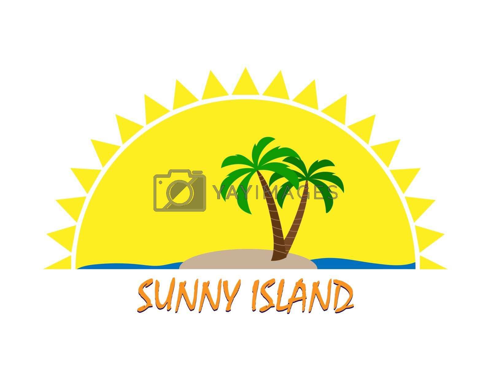 Sun logo and inscription Sunny Island, flat design, color image