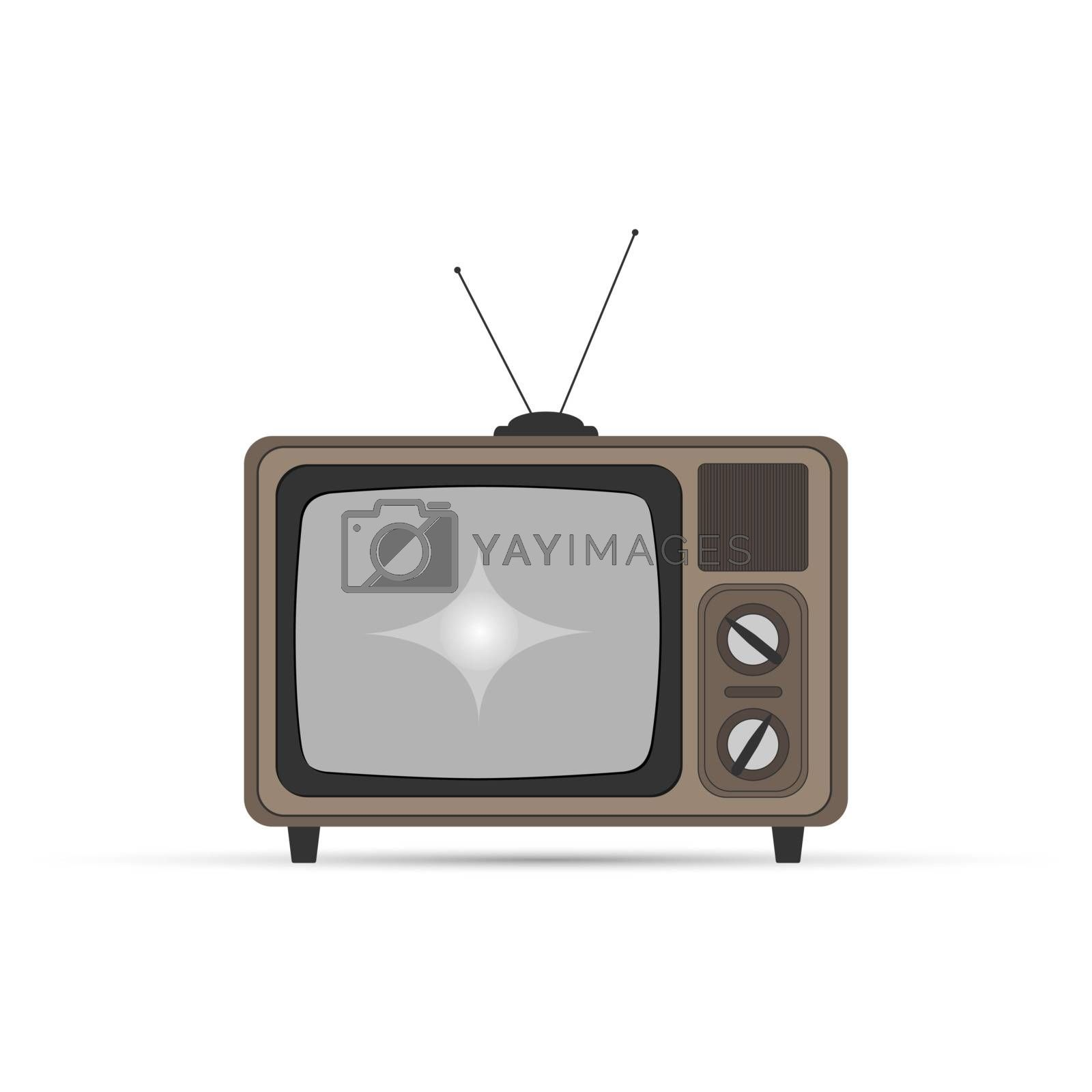 Old TV with kinescope, simple flat design