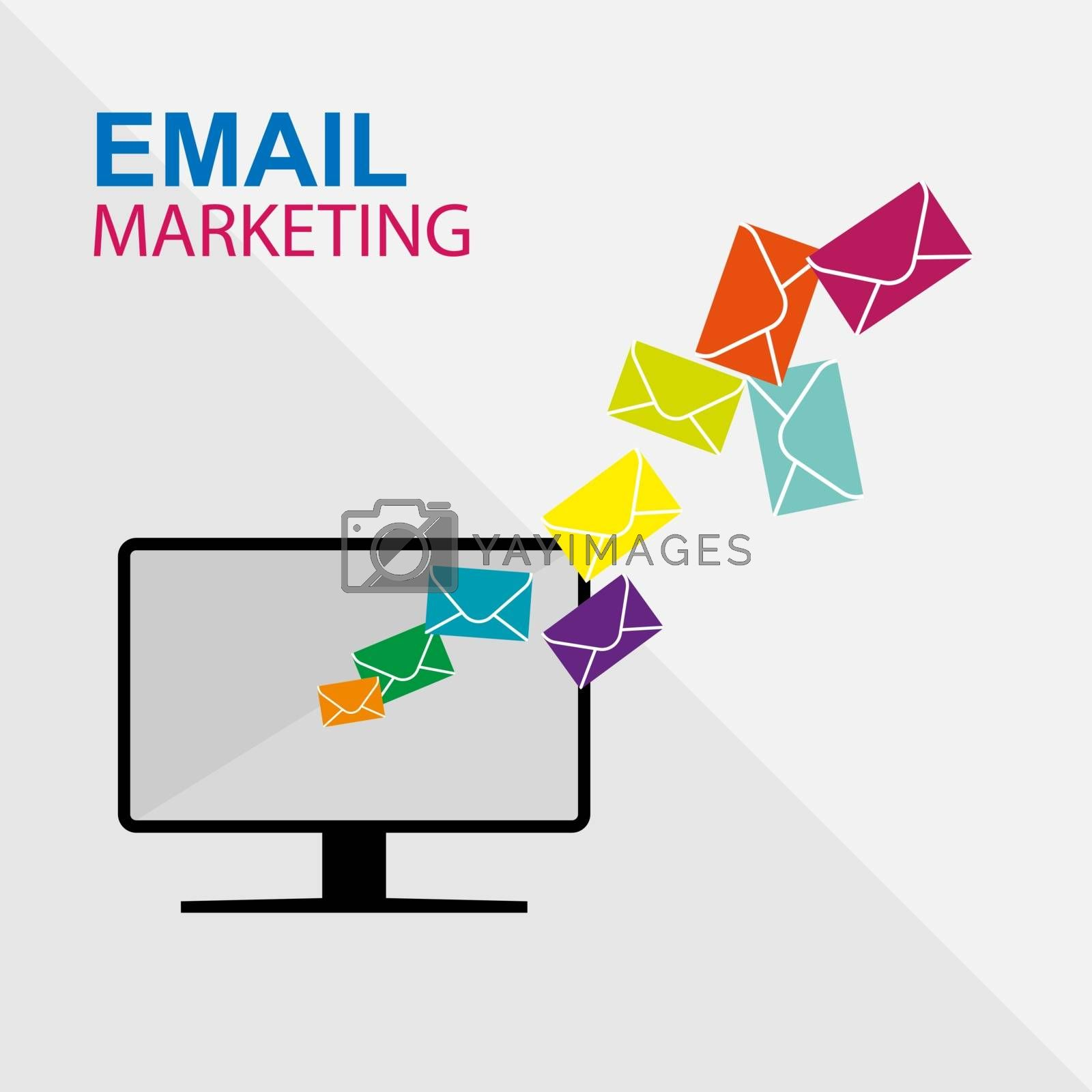 Email marketing from computer, mailing, simple flat design