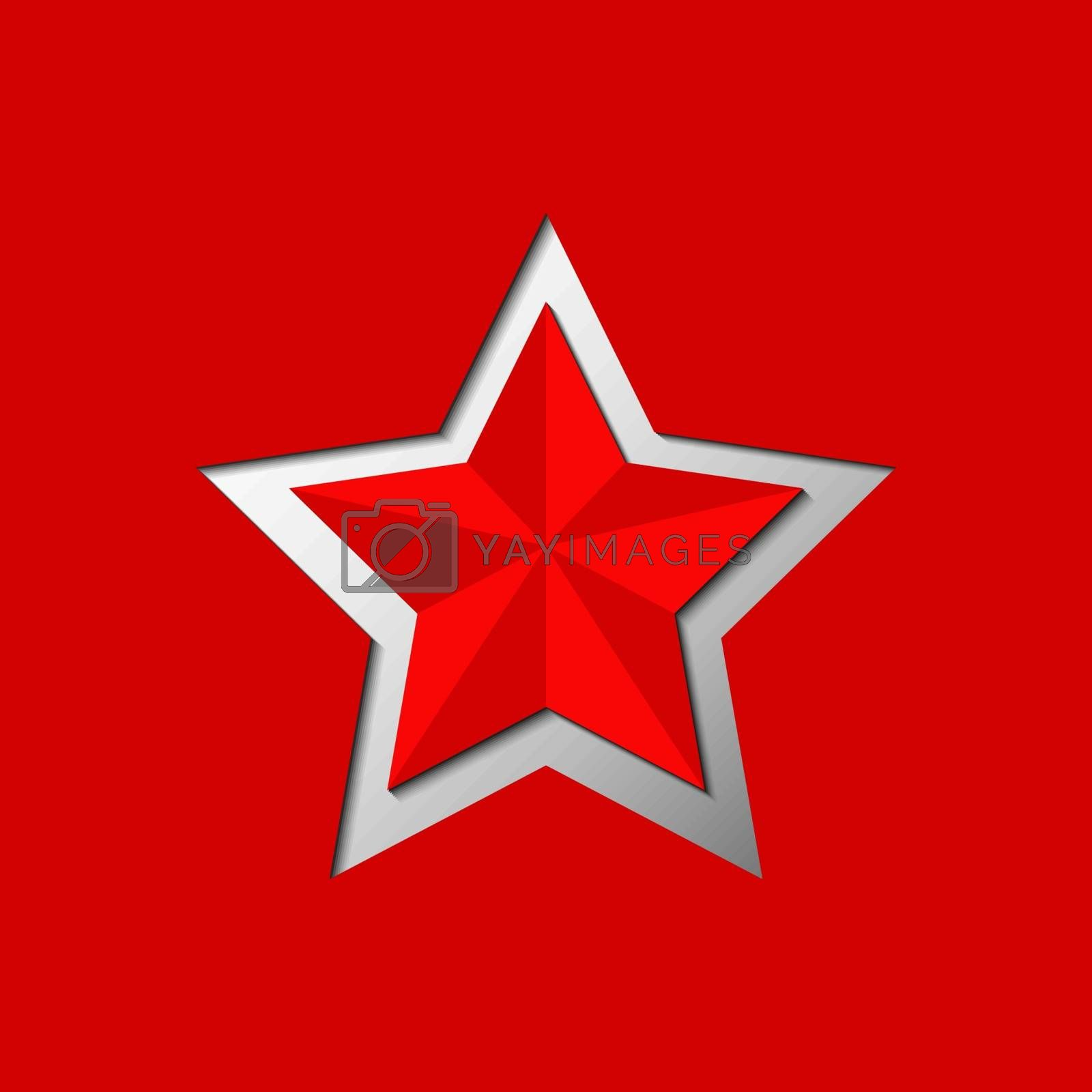 Red five-pointed star carved on red background