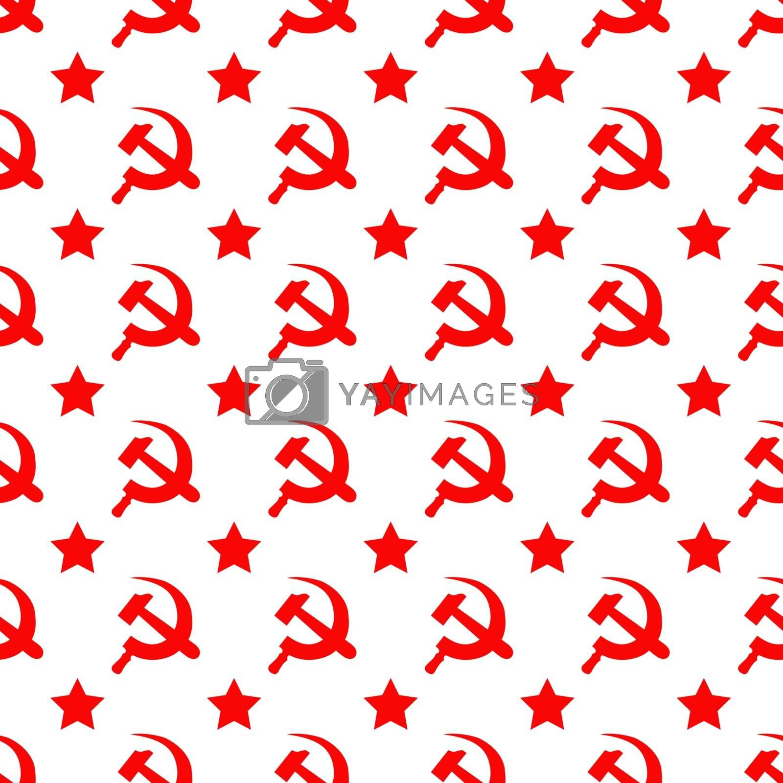 Abstract seamless pattern with red star, hammer and sickle