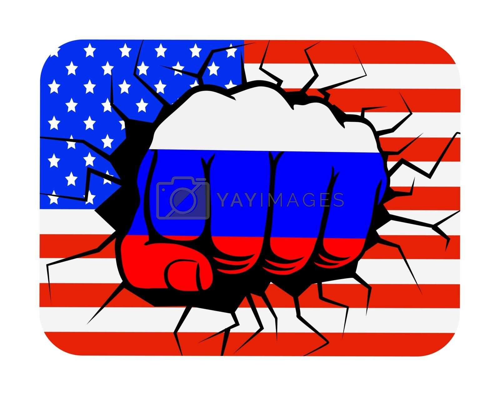 Fist the color of the Russian flag on the background of the USA flag, flat design