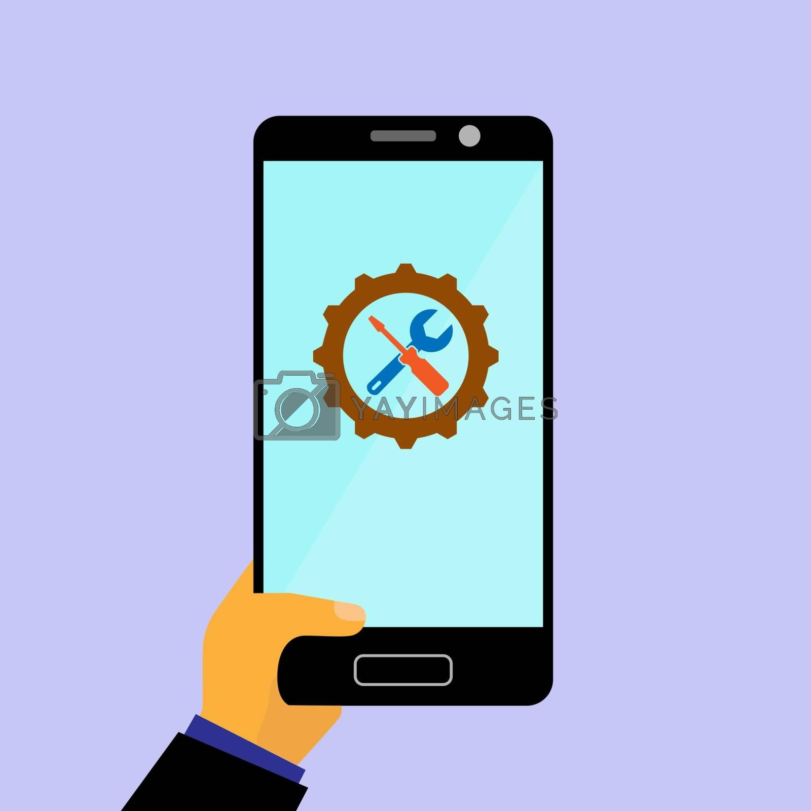 On the smartphone screen icon with gear, screwdriver and wrench