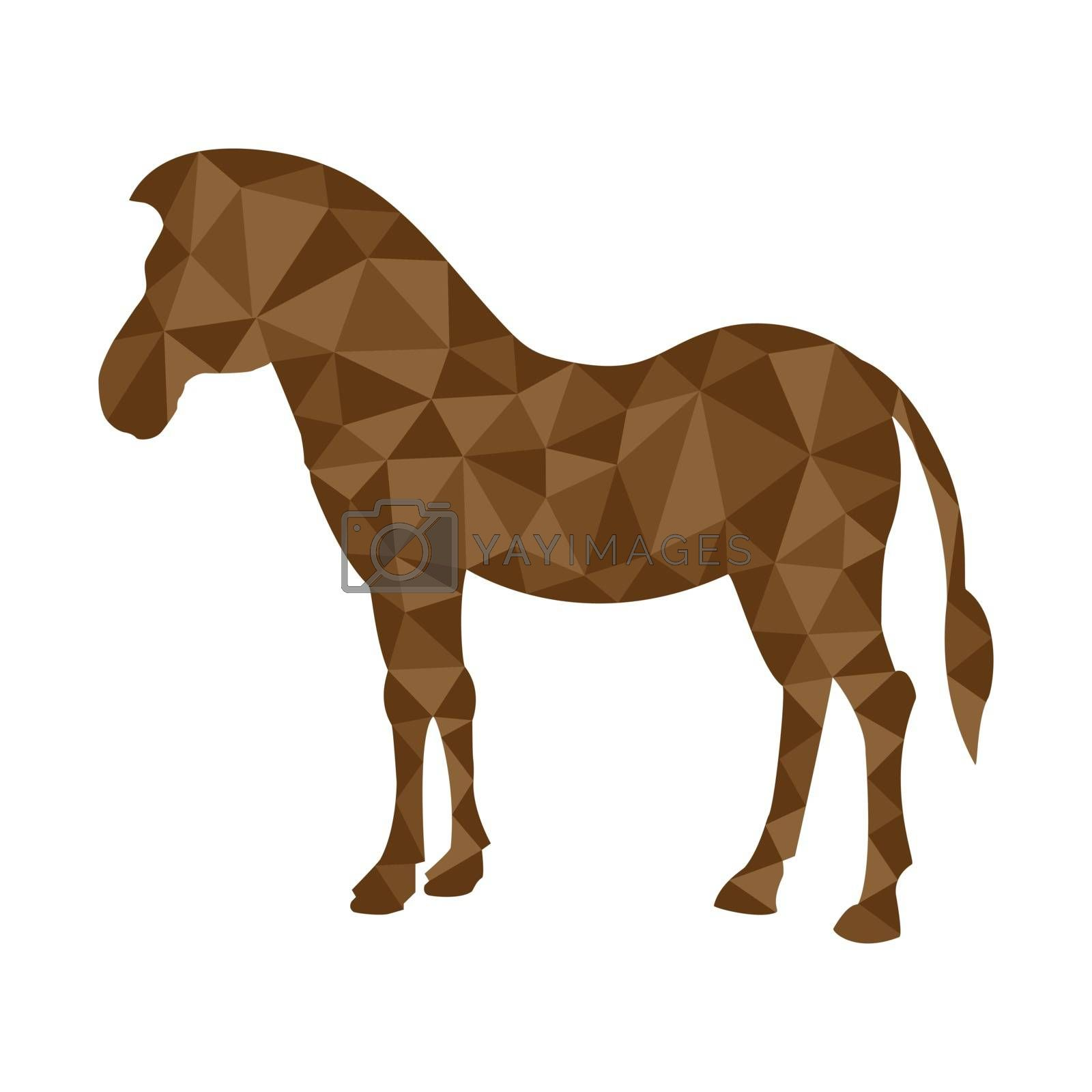 Horse silhouette in polygonal style for design and decoration