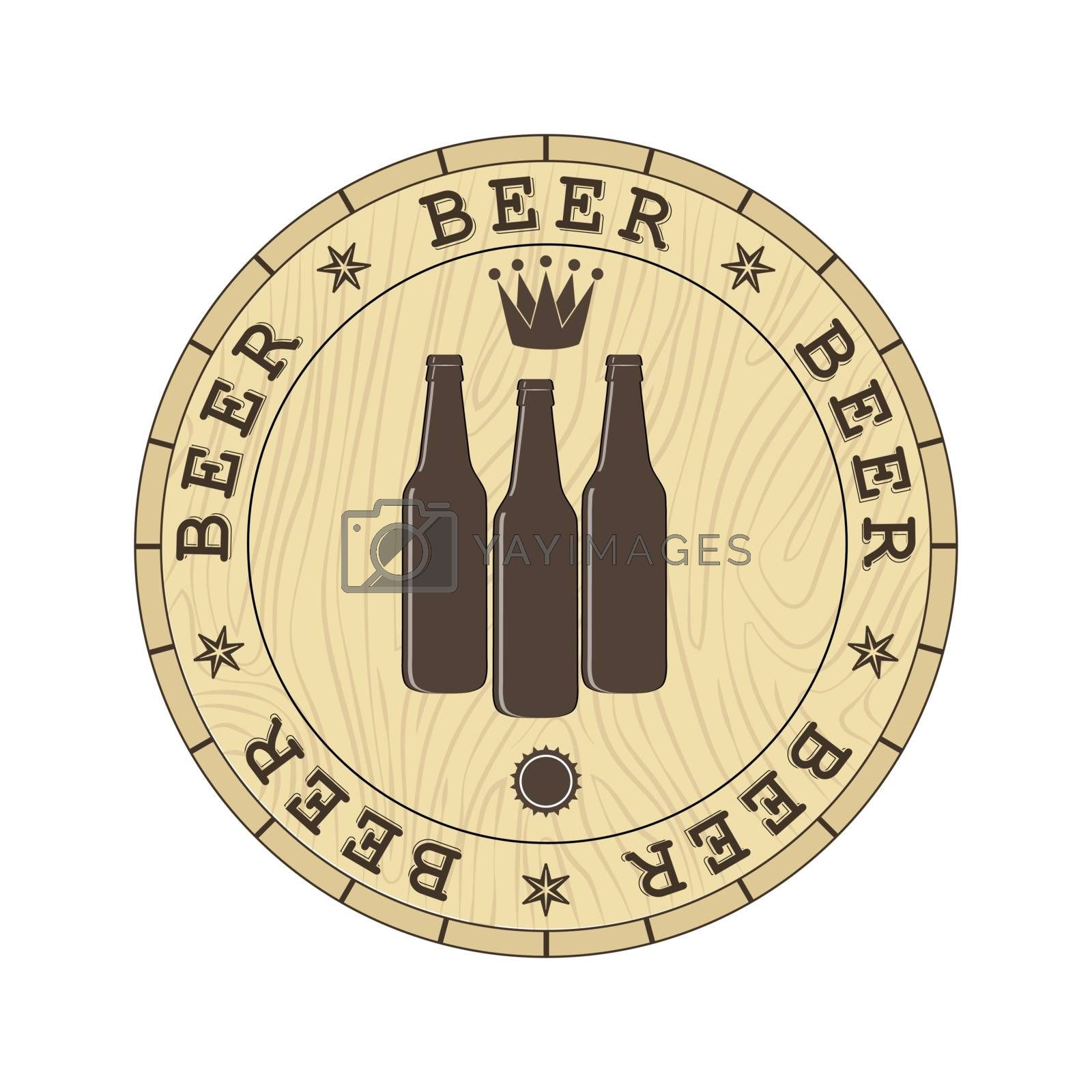 Lid of the barrel with the inscription beer and silhouettes of beer bottles, a simple flat design