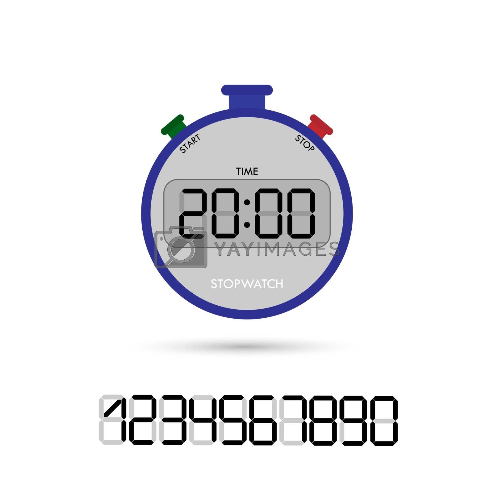 Electronic stopwatch with a set of numbers for the design and design