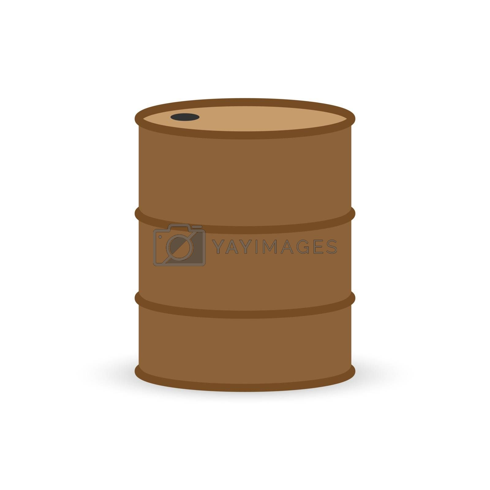 Metal barrel for storage and transportation of oil products, simple icon