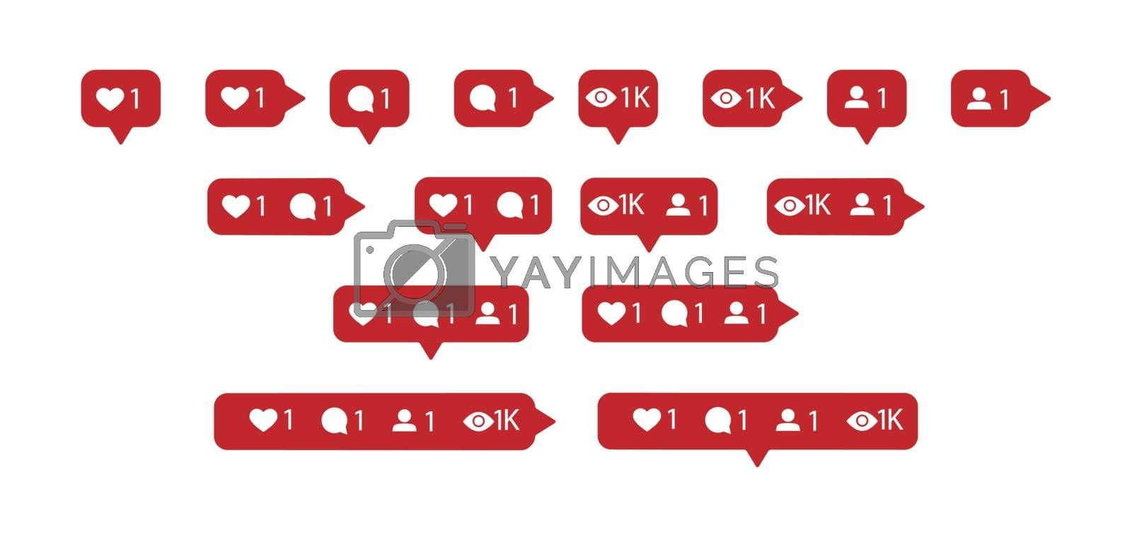 Activity icons for websites, apps, and social networks. Number of subscribers, friends views and messages.