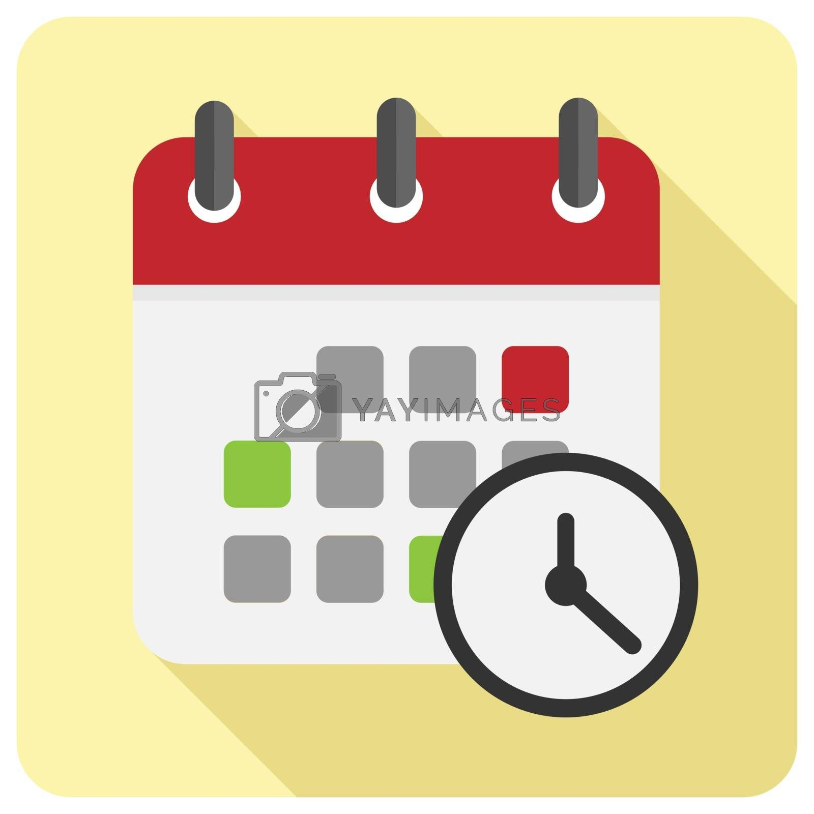 simple sign of the calendar with a clock for the application and sites, a long shadow