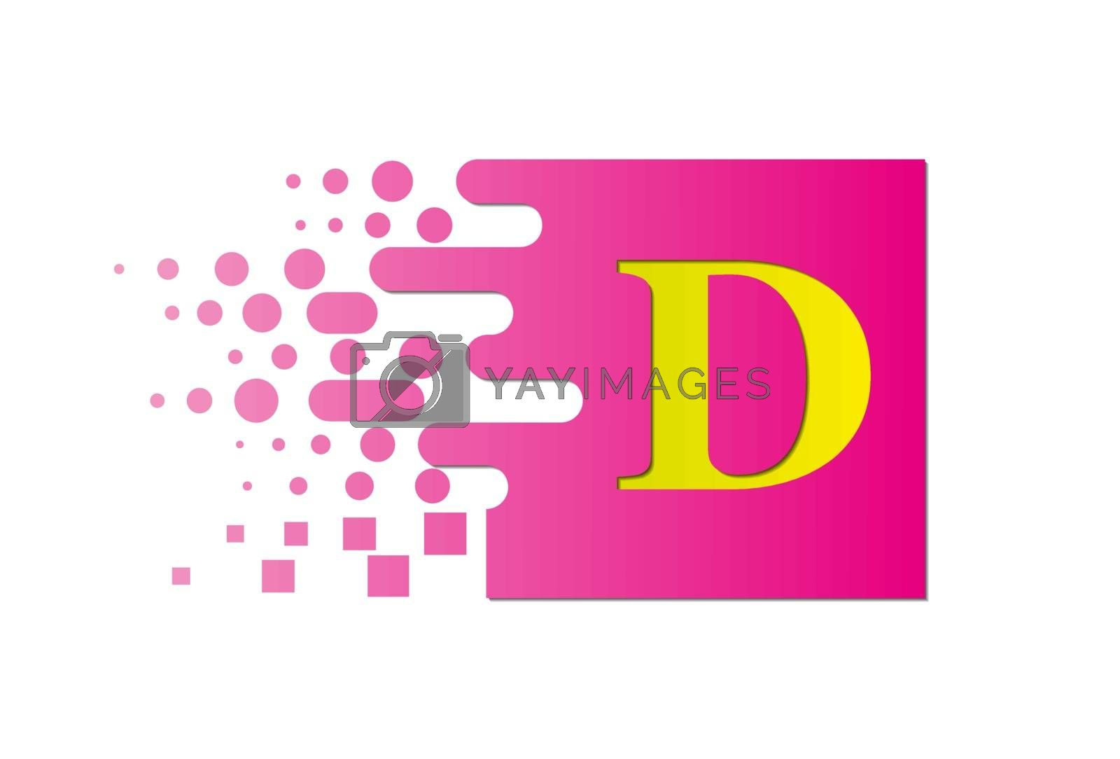 letter D on a colored square with destroyed blocks on a white background.