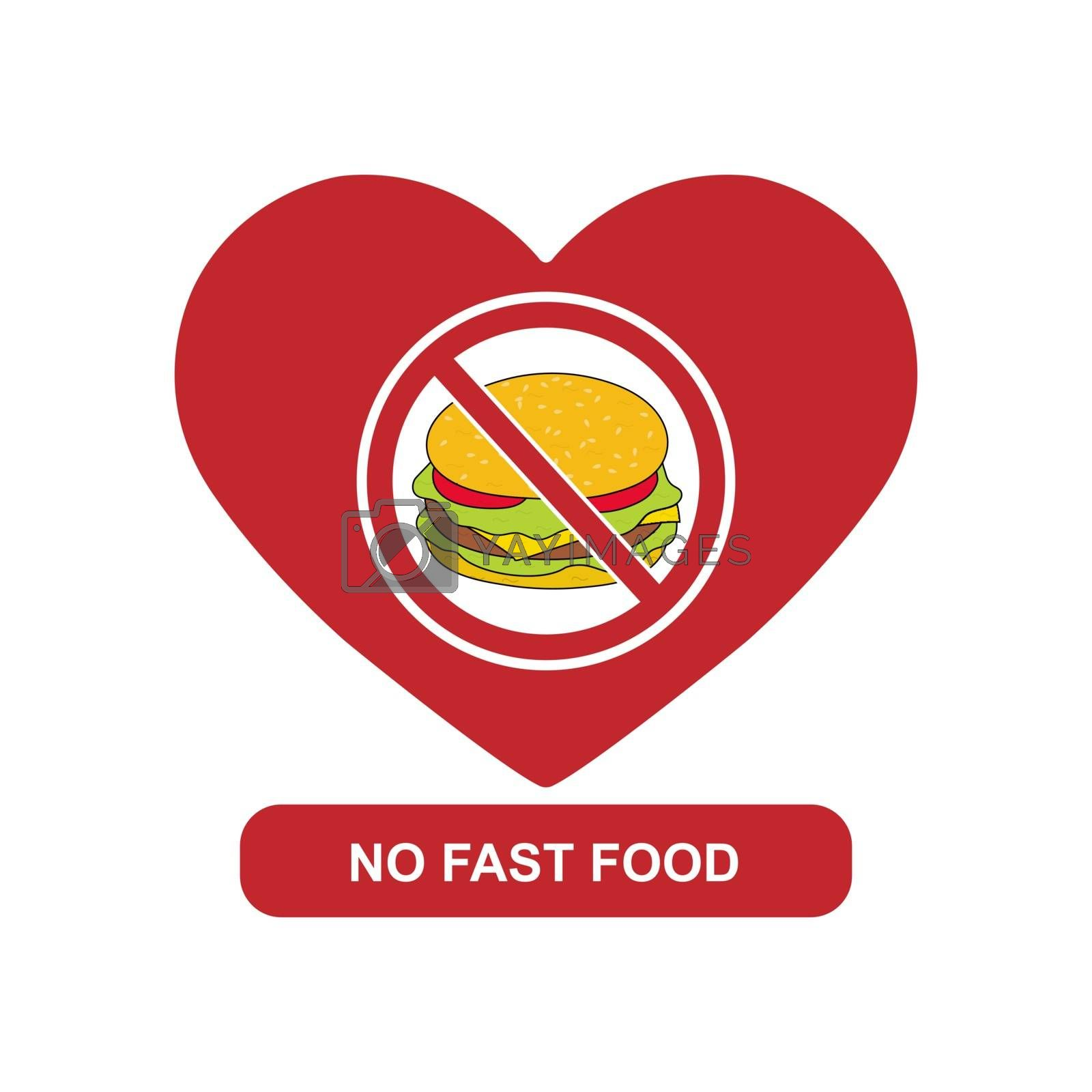 Silhouette of the heart and a sign with a crossed out hamburger, inscription no fast food
