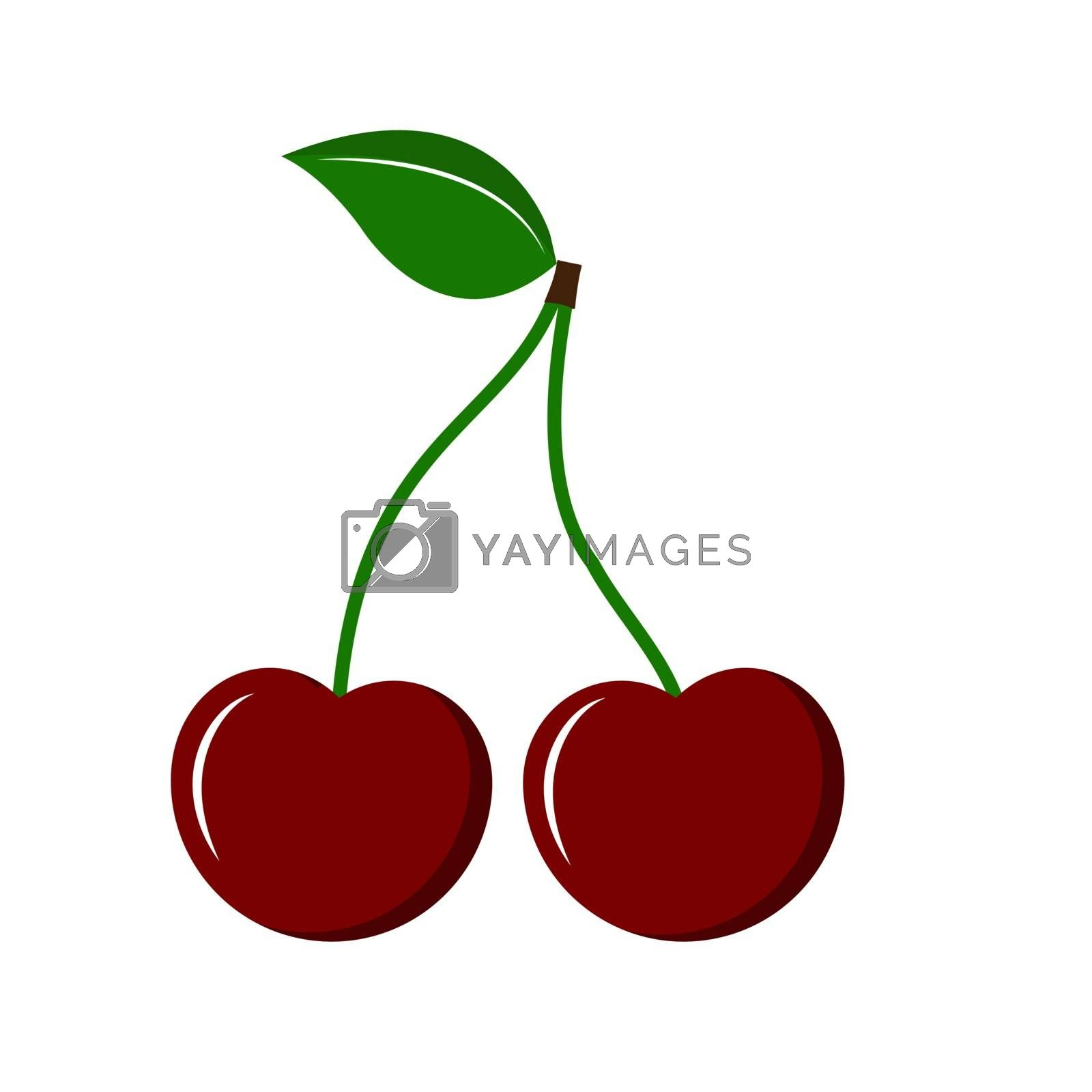Two cherries on stems with a leaf, flat simple design