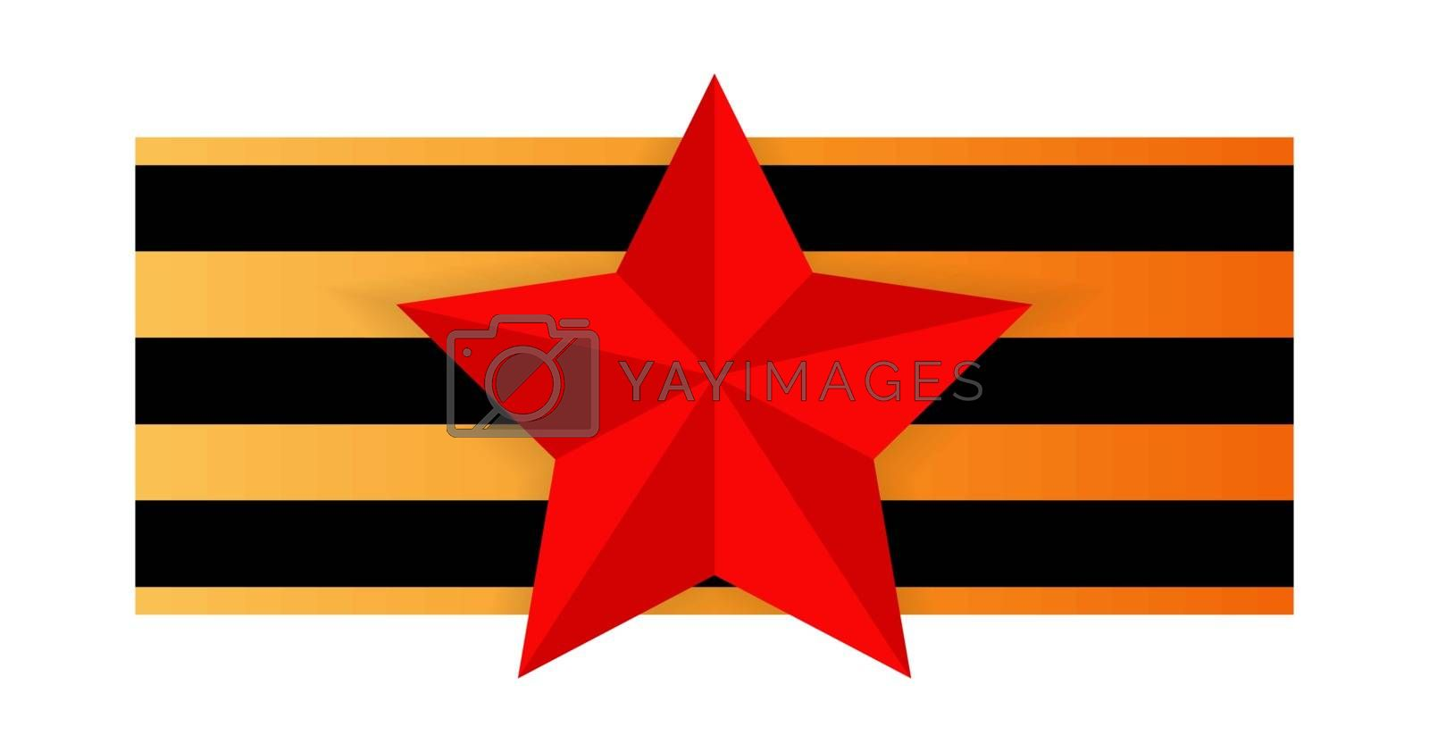 Royalty free image of Red star on the background of St. George's ribbon by Grommik