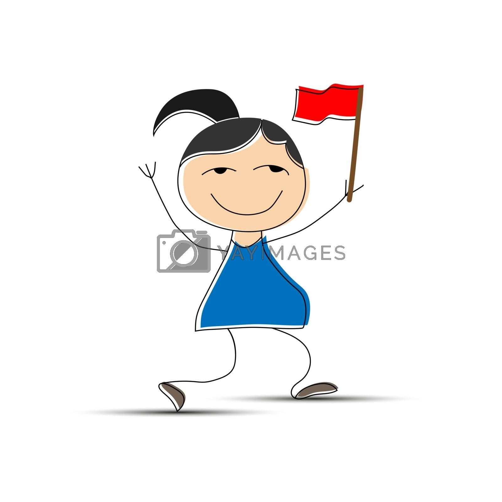 Royalty free image of Cheerful girl with red flag in hand, flat design by Grommik