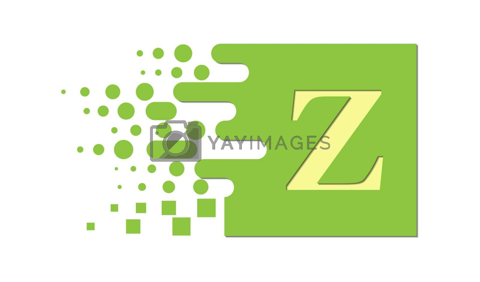Royalty free image of letter Z on a colored square with destroyed blocks by Grommik