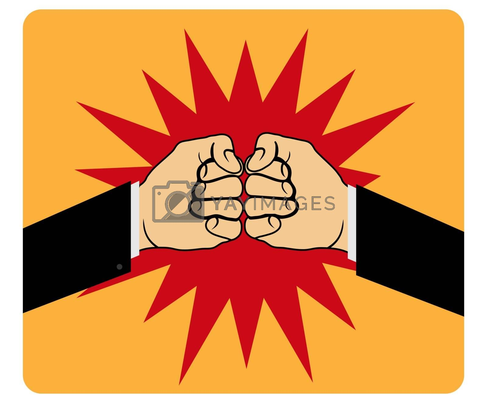 Royalty free image of Two fists hitting each other, simple design by Grommik