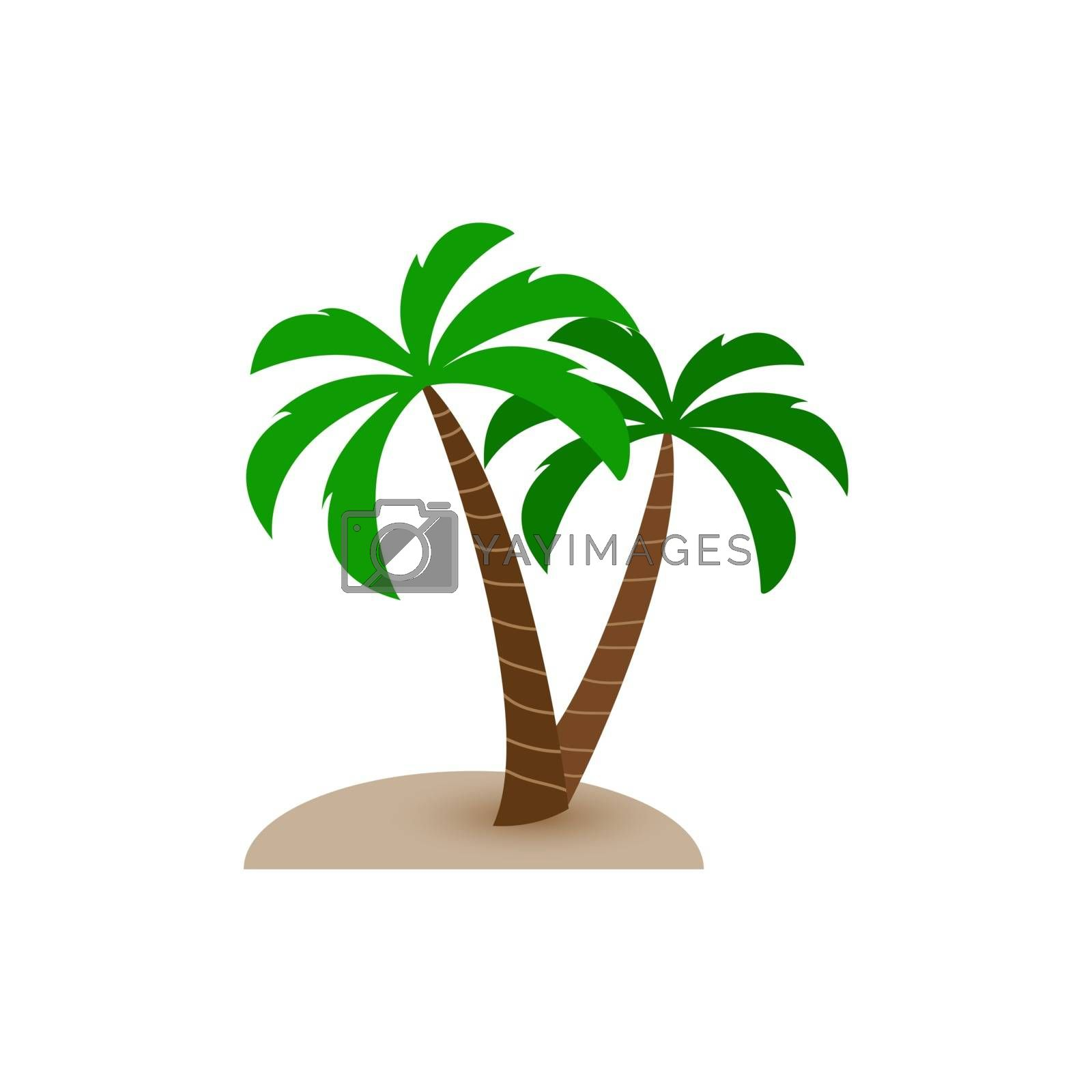 Royalty free image of Two palm trees grow out of sand, simple design by Grommik