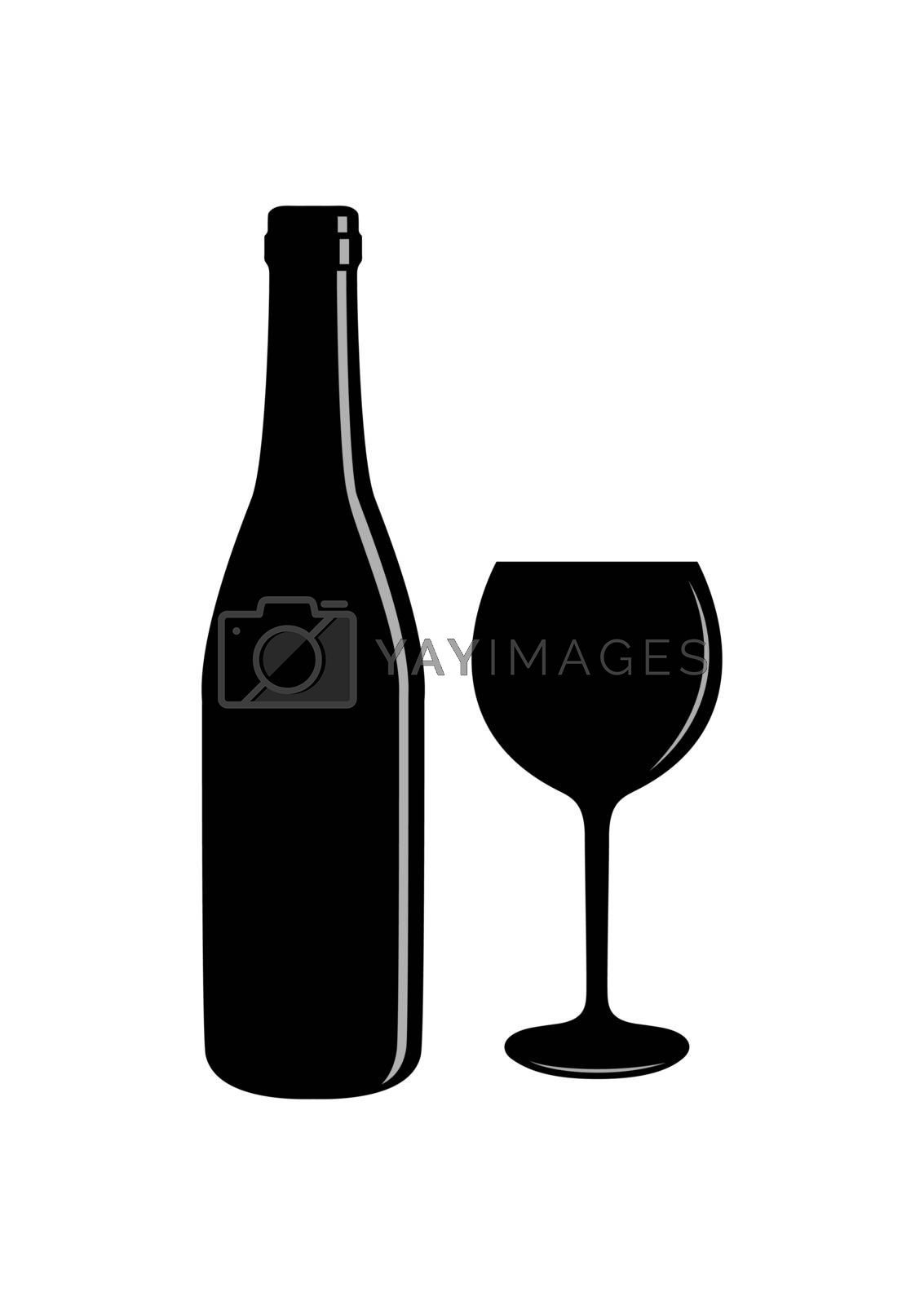 bottle of wine and a glass with a drink. Simple drawing.