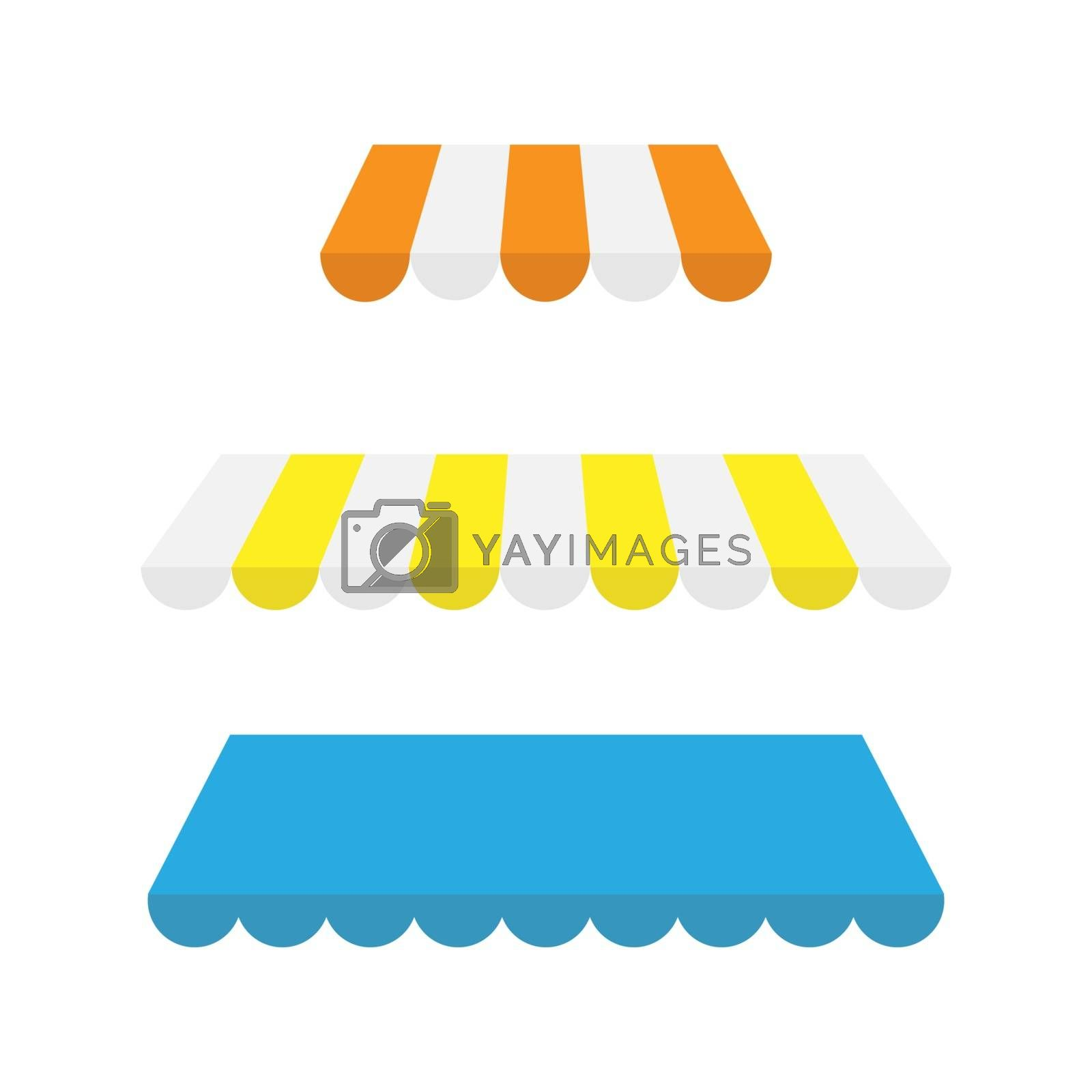 Royalty free image of Set of multi-colored awnings, simple flat design by Grommik