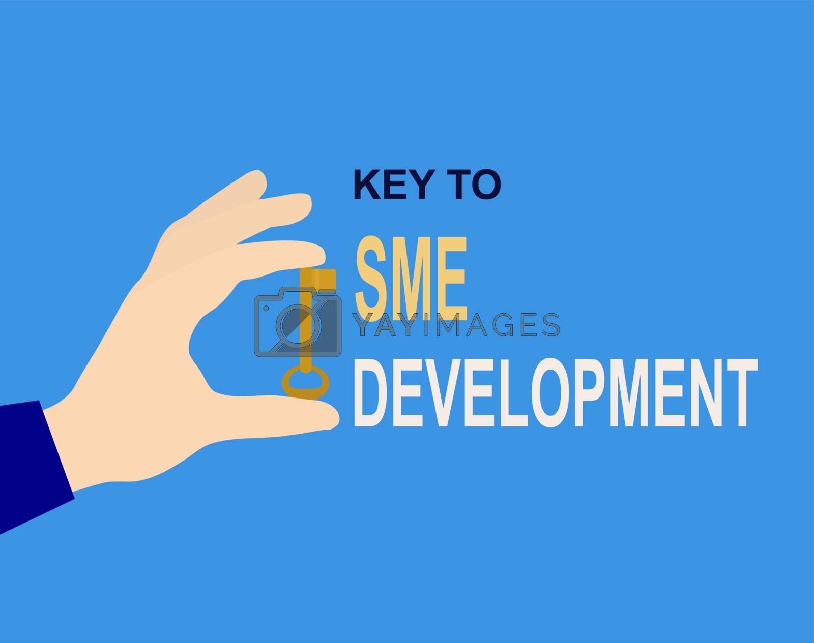 Hand with key and inscription Key to SME development, flat design