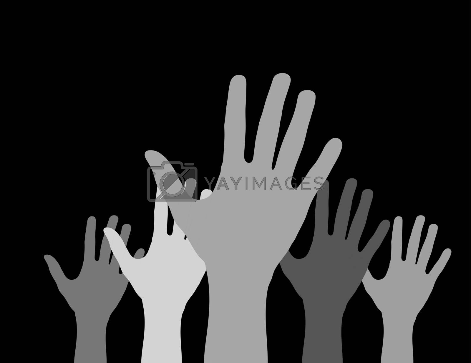 Royalty free image of Hands with open palms extended upwards, flat design by Grommik