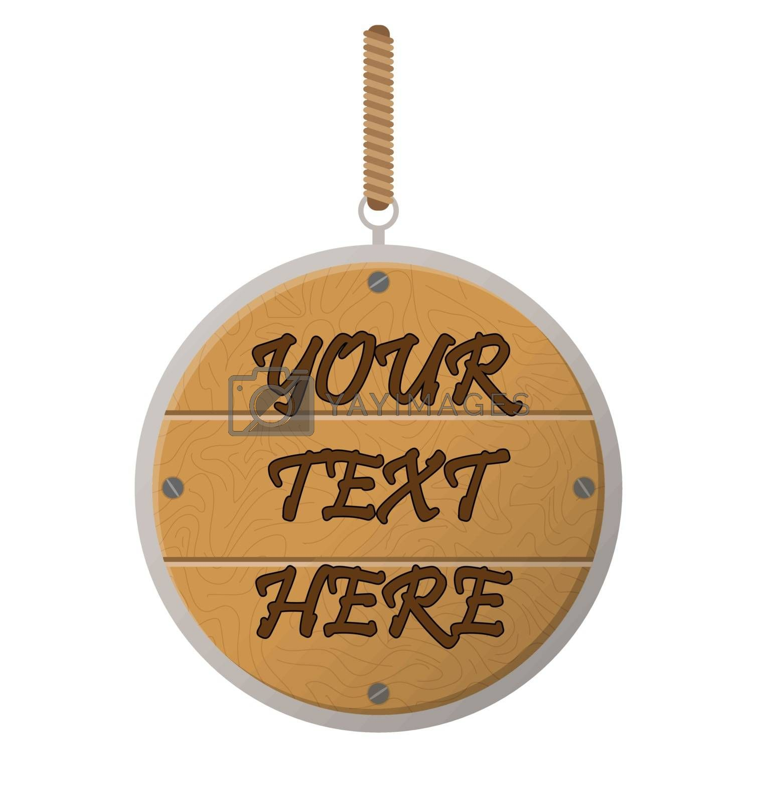 Royalty free image of Wooden plate with a ring on a rope, a place for your text by Grommik
