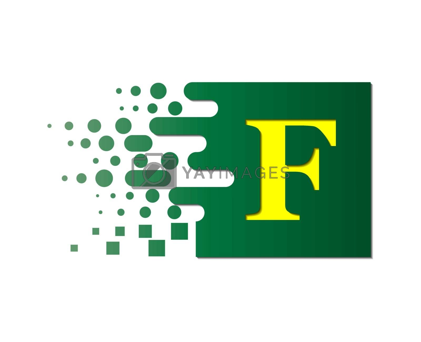 Royalty free image of letter F on a colored square with destroyed blocks by Grommik