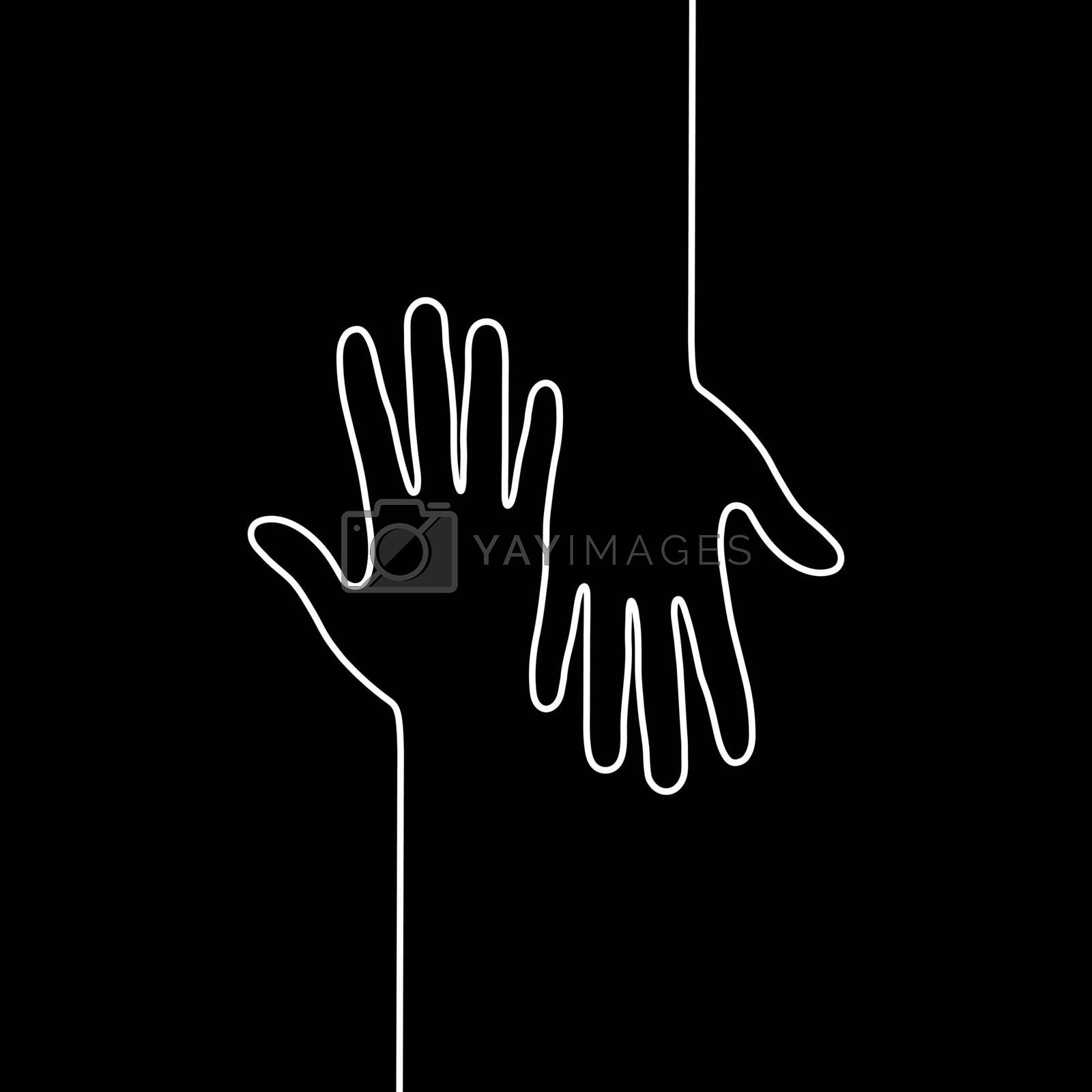 Royalty free image of White outline of two hands with fingers on black background, fla by Grommik