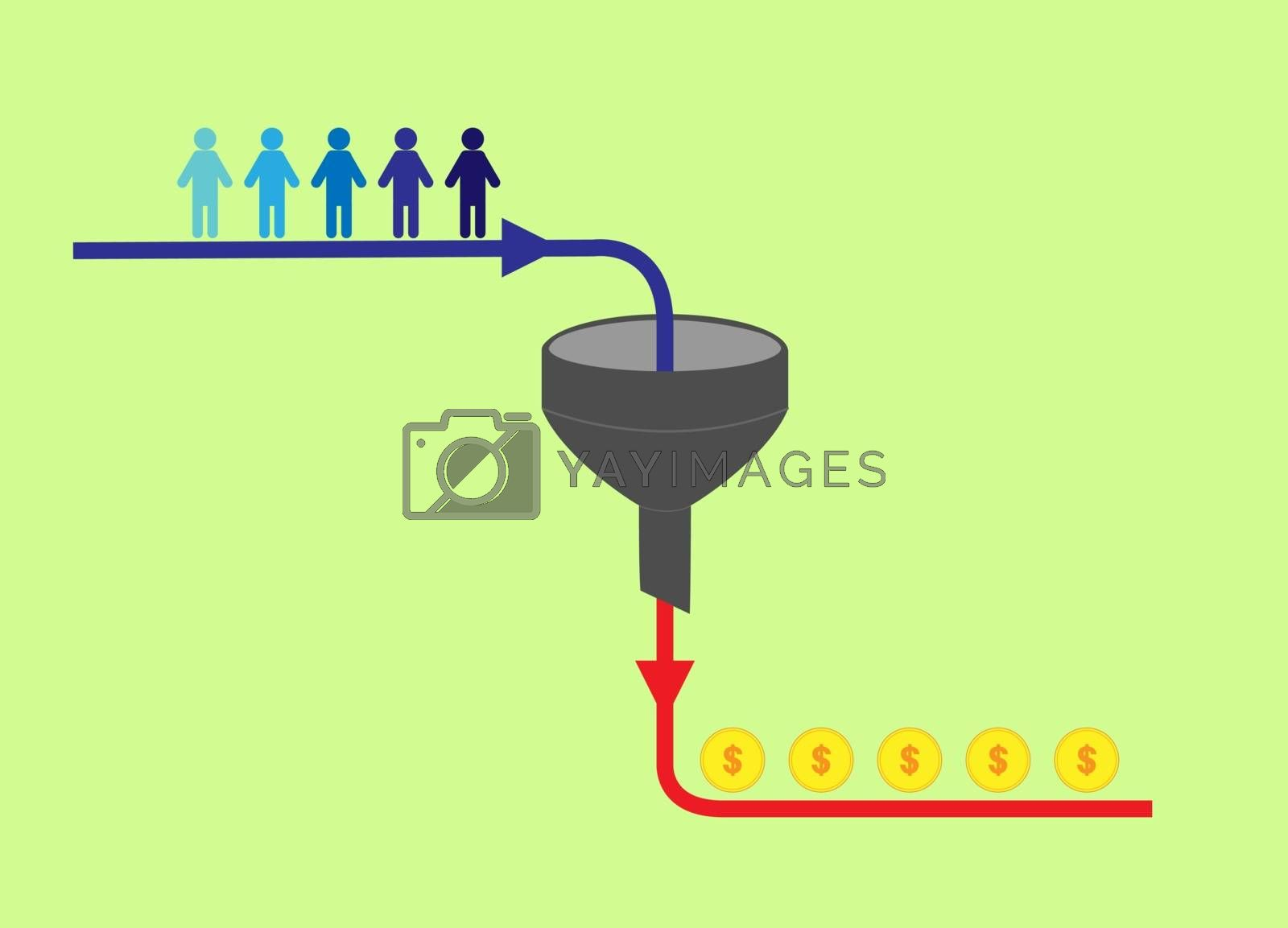 Sales funnel for illustrating presentations and articles, lead generation