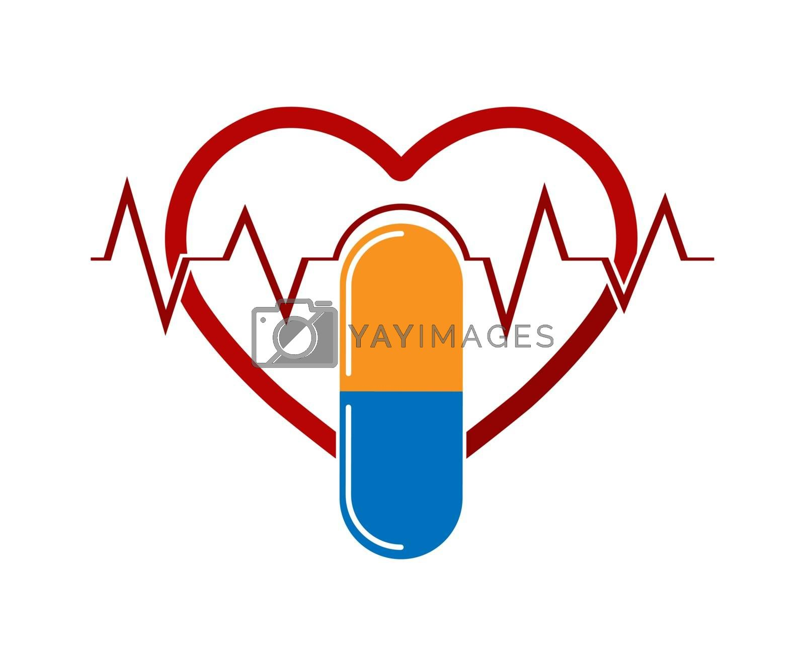 Royalty free image of Silhouette of the heart with the ECG and capsule medicines, a fl by Grommik